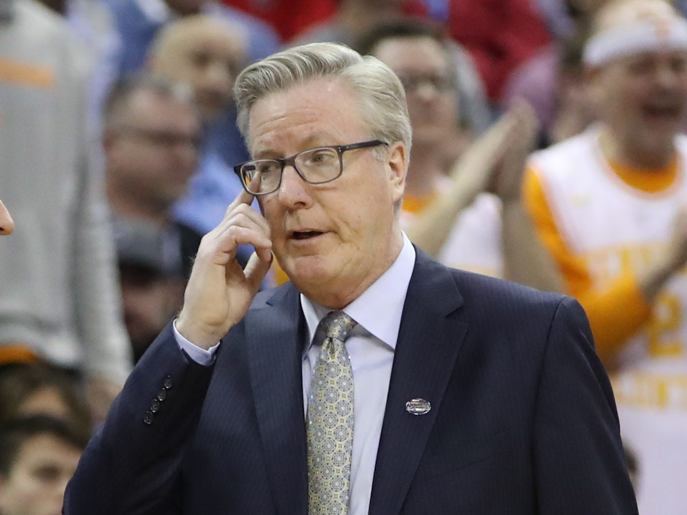 Iowa Hawkeyes head coach Fran McCaffery reacts to play in overtime against the Tennessee Volunteers in the second round of the 2019 NCAA Tournament at Nationwide Arena.