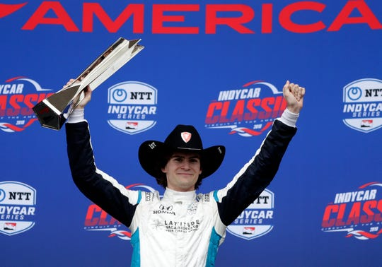 Harding Steinbrenner Racing rookie Colton Herta celebrates his victory Sunday in the IndyCar Classic at Circuit of the Americas
