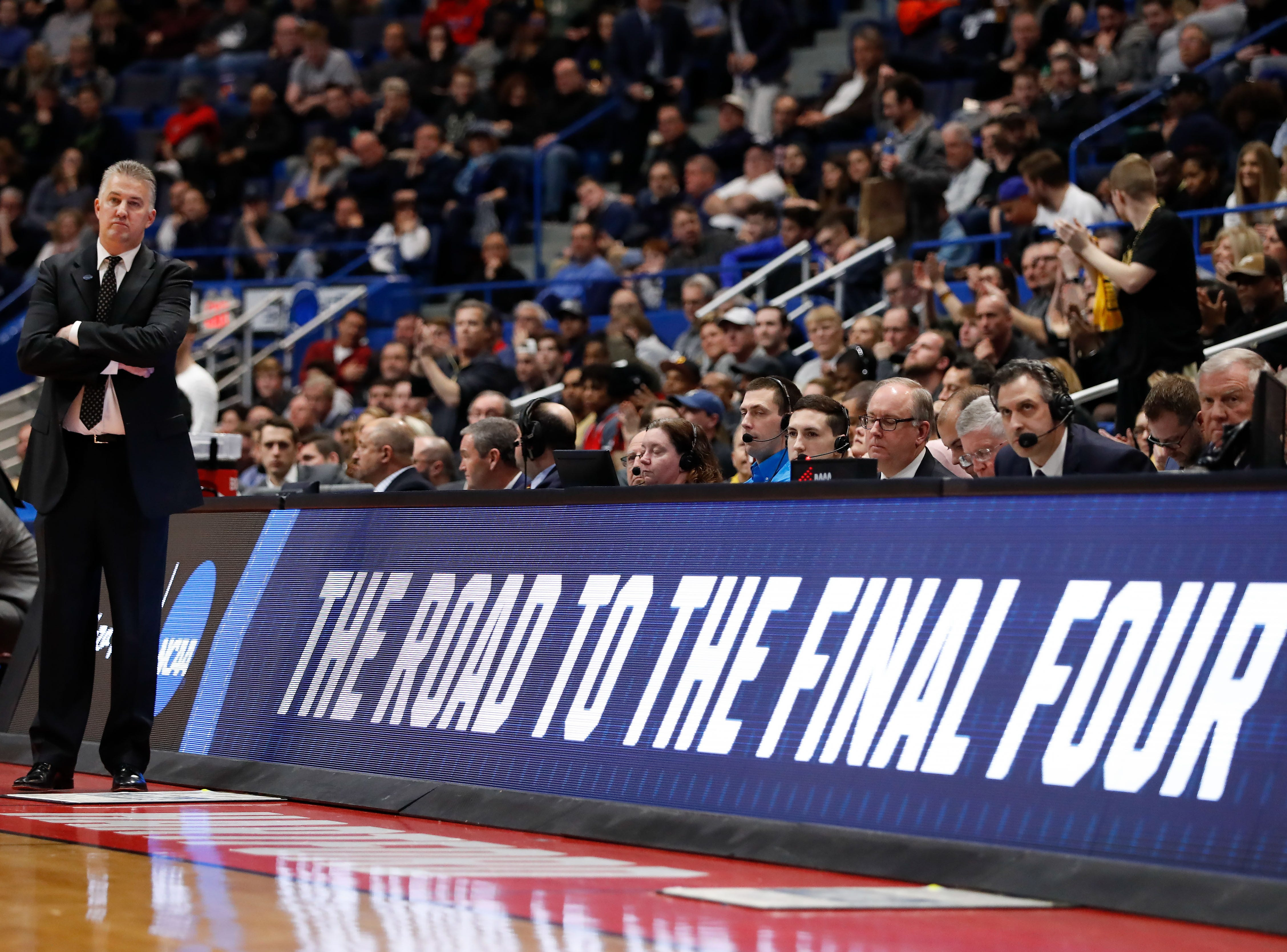 Mar 23, 2019; Hartford, CT, USA; Purdue Boilermakers head coach Matt Painter watches a play against the Villanova Wildcats during the second half of a game in the second round of the 2019 NCAA Tournament at XL Center. Mandatory Credit: David Butler II-USA TODAY Sports