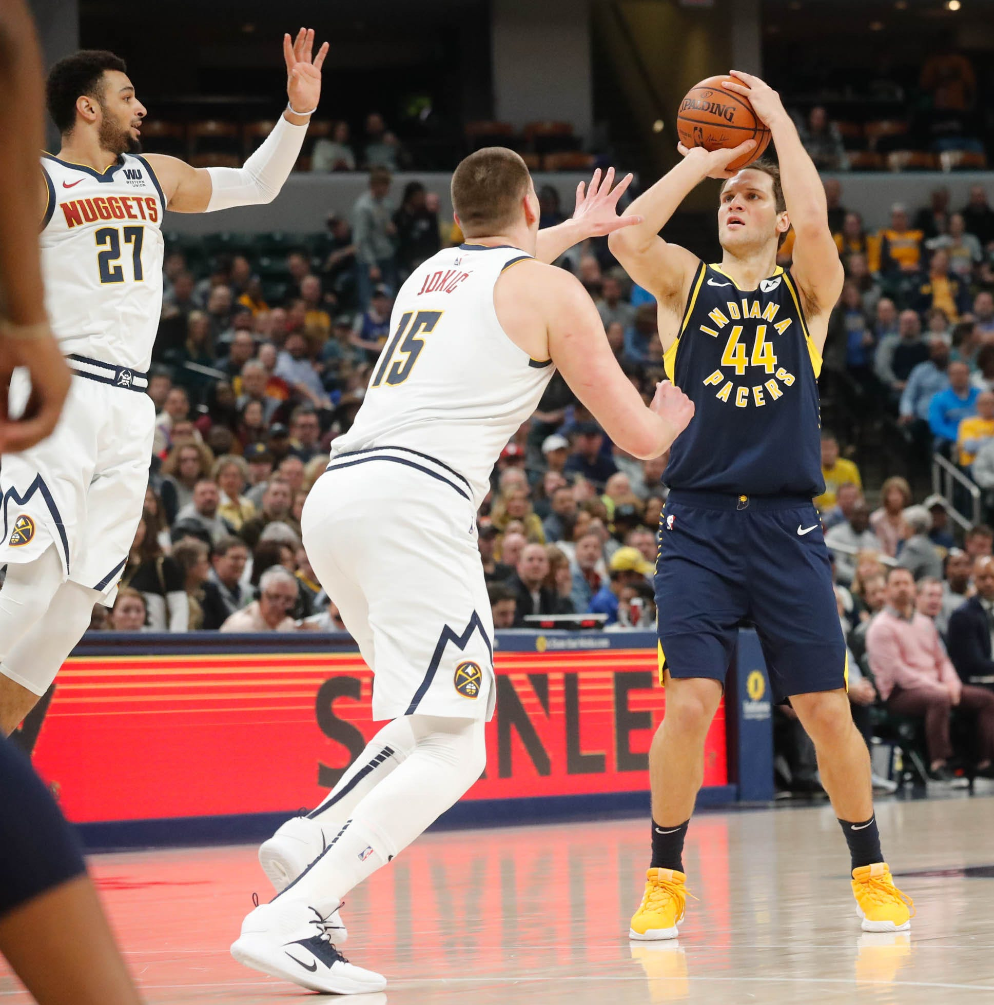 Pacers forward Bojan Bogdanovic (almost) could not miss during the first half against Denver