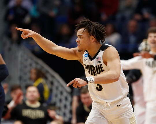 Purdue Boilermakers guard Carsen Edwards (3) reacts after a score against the Villanova Wildcats during the second half of a game in the second round of the 2019 NCAA Tournament at XL Center.