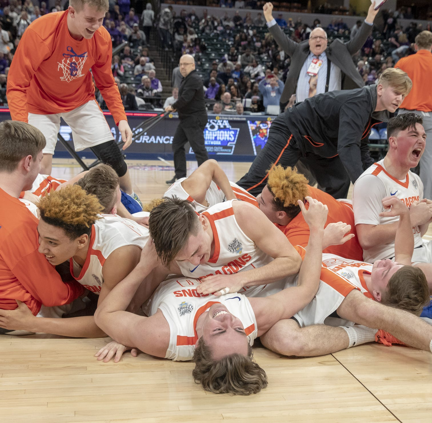 Celebration after Silver Creek High School defeated Culver Academies 52-49 in the Class 3S Boys Basketball State Final, Bankers Life Fieldhouse, Indianapolis, Saturday, March 23, 2019.