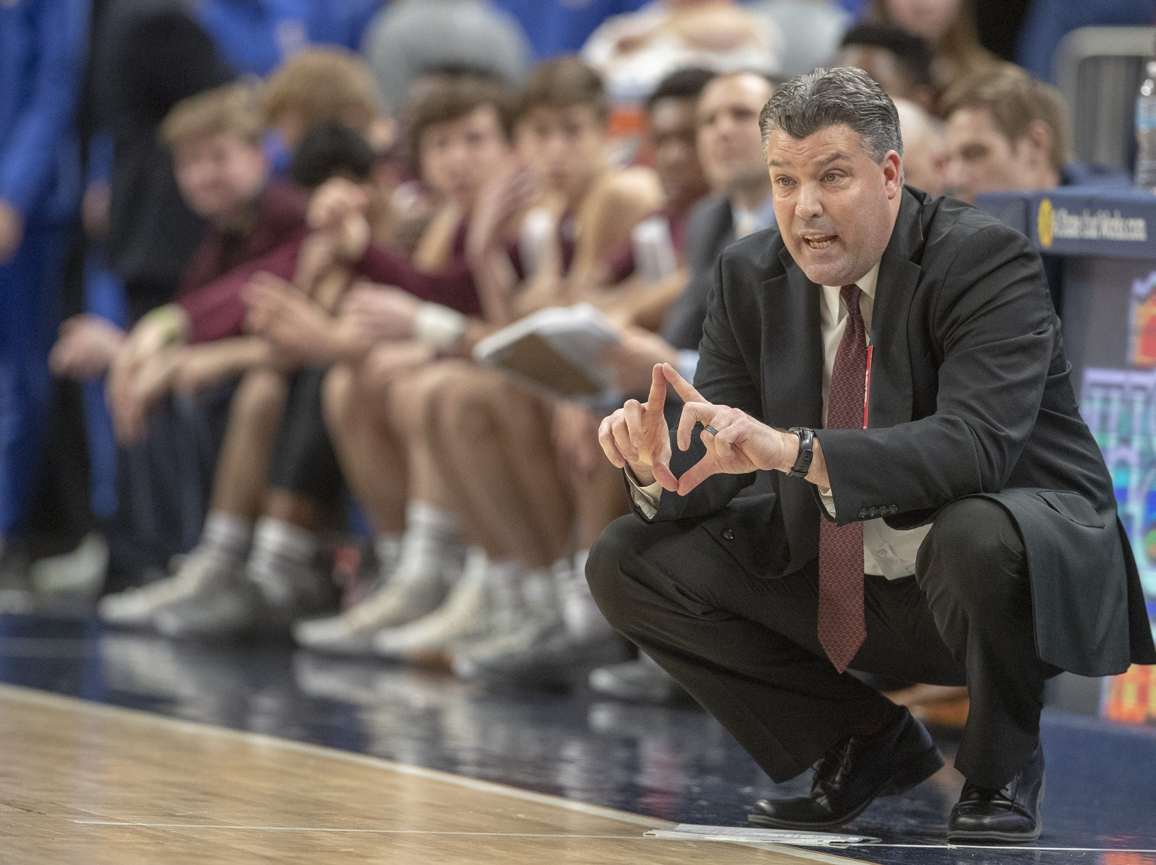 Mark Galloway, head coach of Culver Academies vs. Silver Creek Dragons in the Class 3S Boys Basketball State Final, Bankers Life Fieldhouse, Indianapolis, Saturday, March 23, 2019. Silver Creek won 52-49.