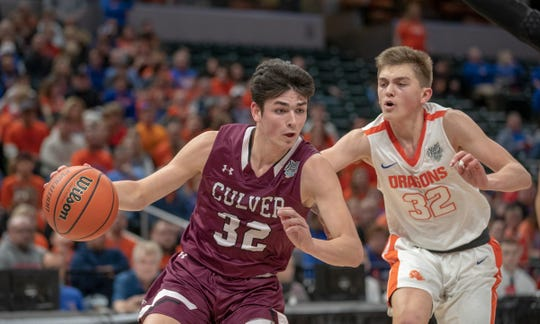 Trey Galloway of Culver Academies drives on Kooper Jacobi of the Silver Creek Dragons in the Class 3A Boys Basketball State Final, Bankers Life Fieldhouse,, March 23, 2019.