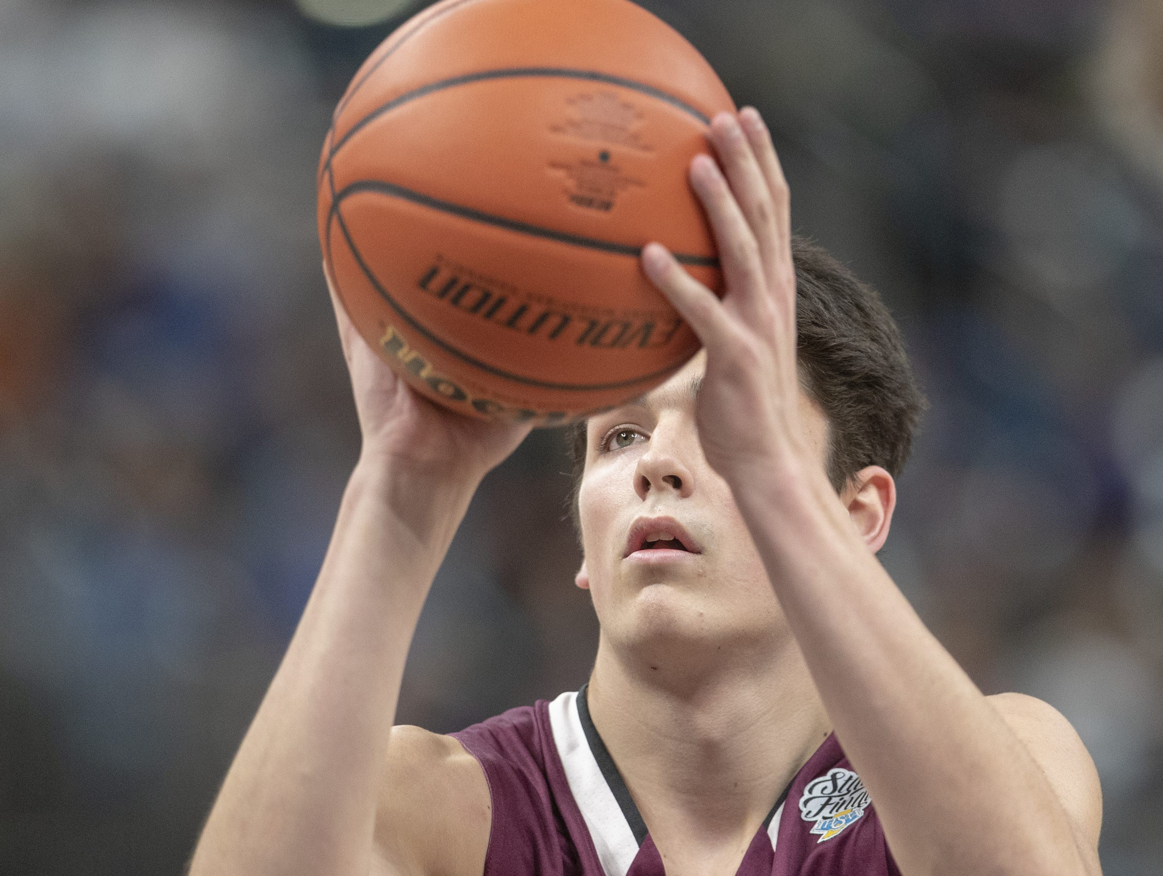 Trey Galloway of Culver Academies shoots a freethrow vs. Silver Creek Dragons in the Class 3S Boys Basketball State Final, Bankers Life Fieldhouse, Indianapolis, Saturday, March 23, 2019. Silver Creek won 52-49.