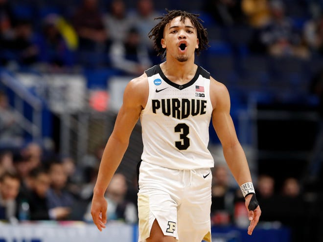 Mar 21, 2019; Hartford, CT, USA; Purdue Boilermakers guard Carsen Edwards (3) reacts at the ned of the first half against the Old Dominion Monarchs in the first round of the 2019 NCAA Tournament at XL Center. Mandatory Credit: David Butler II-USA TODAY Sports