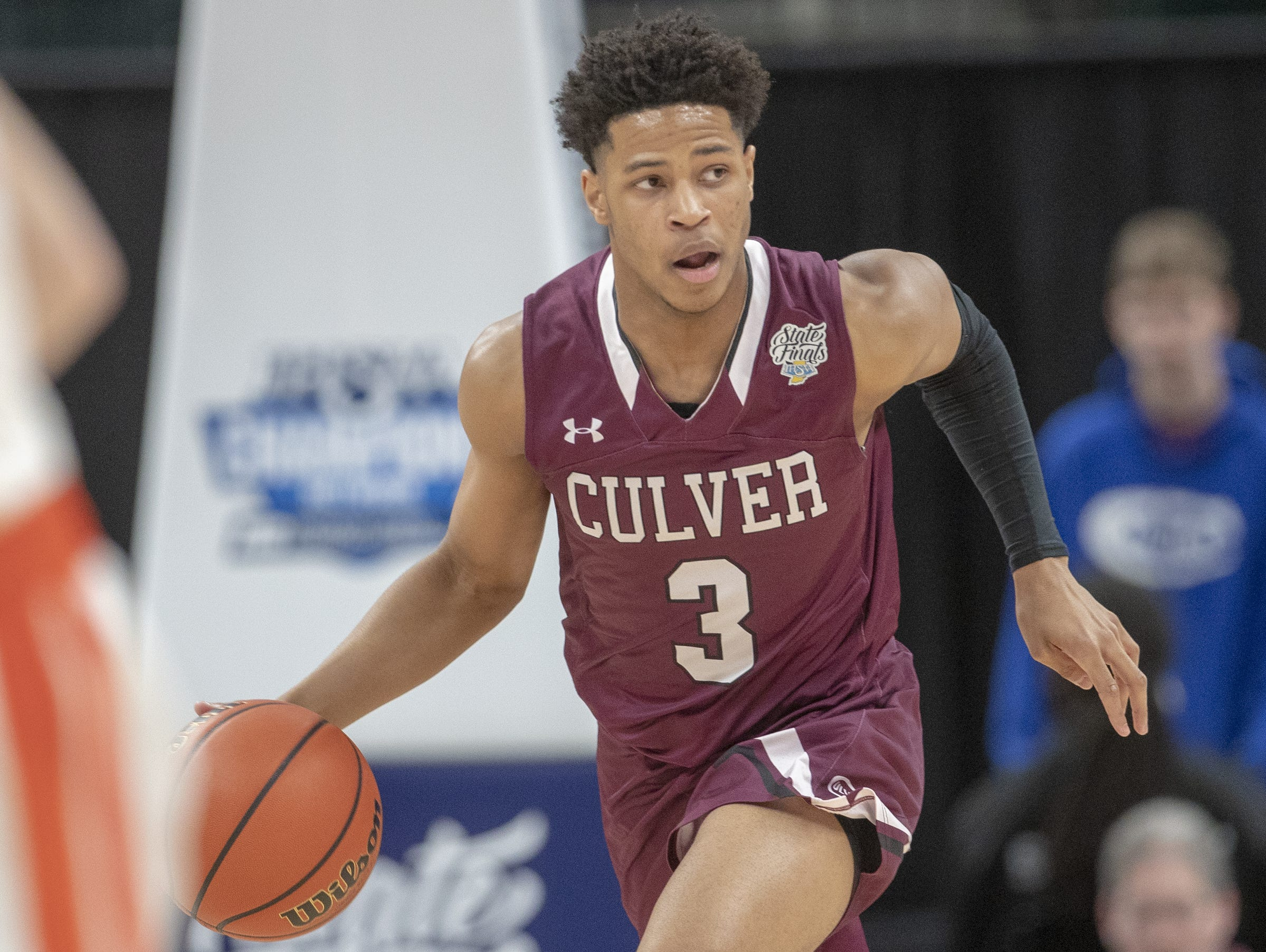 Ethan Brittain-Watts, of Culver Academies vs. Silver Creek Dragons in the Class 3S Boys Basketball State Final, Bankers Life Fieldhouse, Indianapolis, Saturday, March 23, 2019. Silver Creek won 52-49.