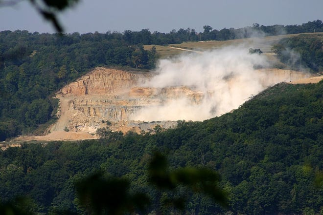 Jim Kachel of Bagley, Wisconsin, took this photo of the Pattison Sand Mine from his home in September 2015 after he heard a blast at the mine, which is across the Mississippi River near Clayton, Iowa.