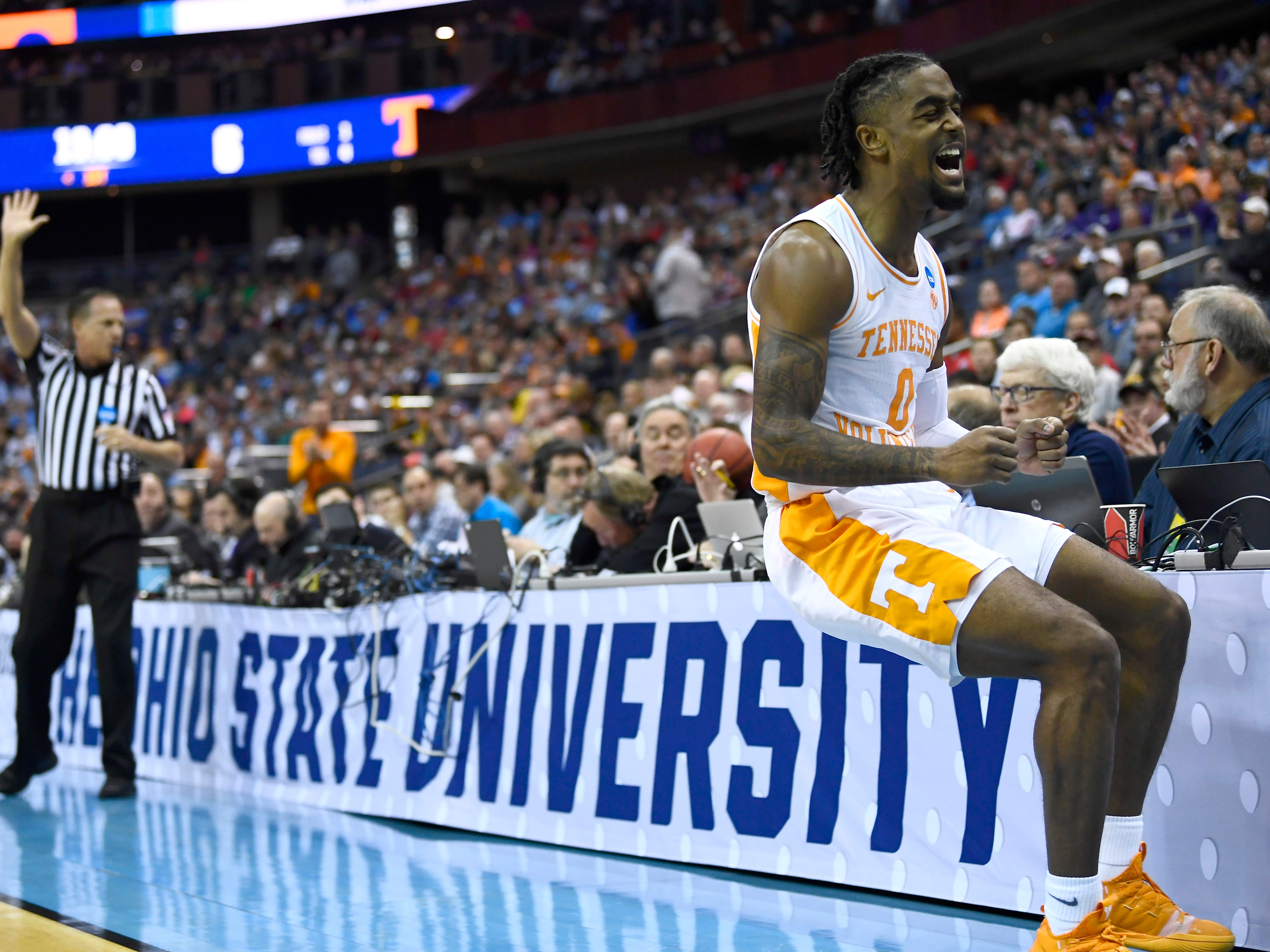 Tennessee guard Jordan Bone (0) reacts to a ball going out of bounds during the first half of the game against the Iowa Hawkeyes in the second round of the NCAA Tournament at Nationwide Arena in Columbus, Ohio, Sunday, March 24, 2019.