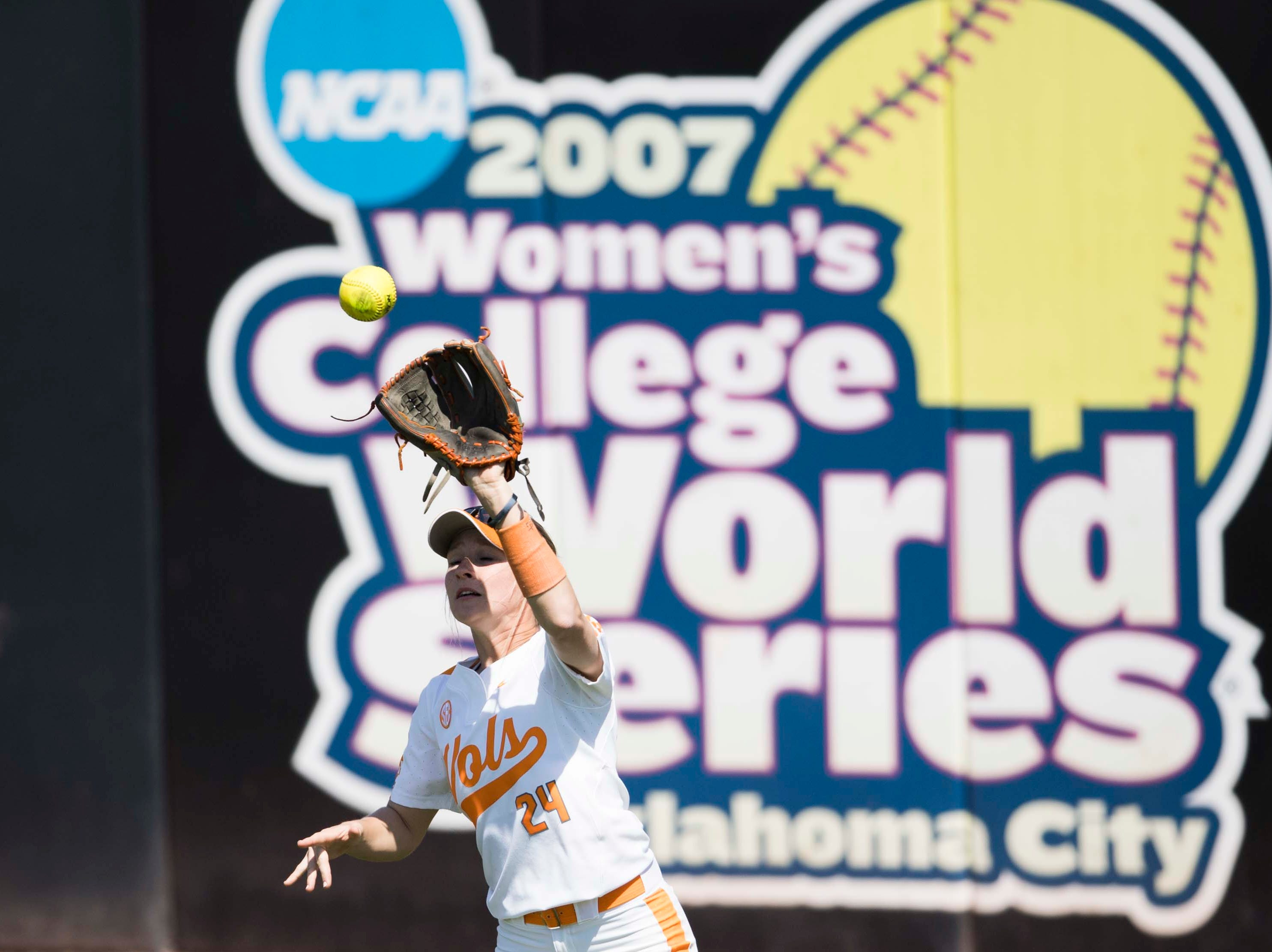 Tennessee outfielder Cailin Hannon (24) catches a fly ball during a Lady Vols softball game against Arkansas at Sherri Parker Lee stadium on University of Tennessee's campus in Knoxville Sunday, March 24, 2019. The Lady Vols defeated Arkansas.