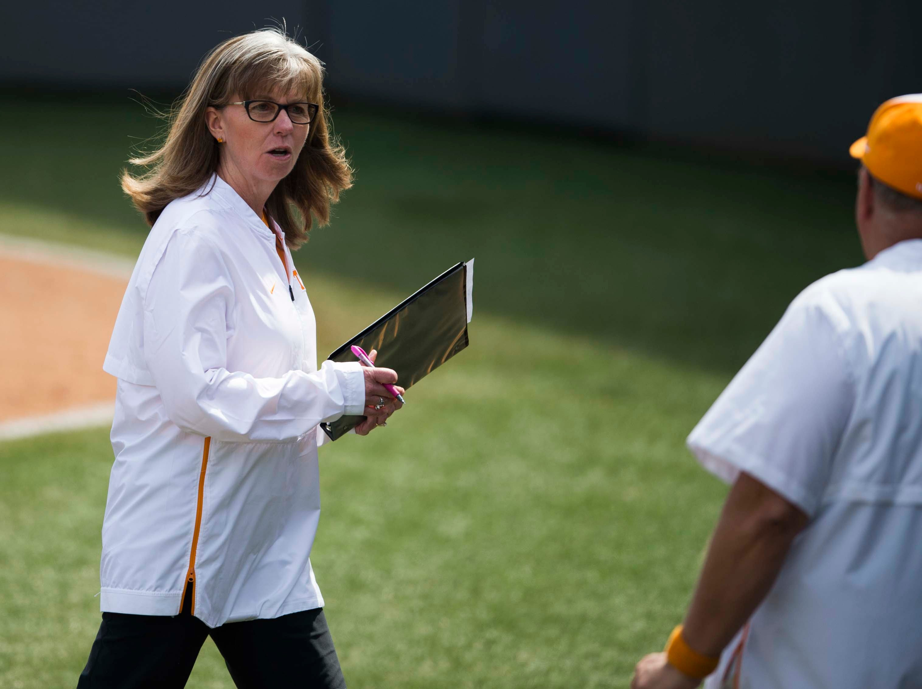 Tennessee co-head coach Karen Weekly walks off the field during a Lady Vols softball game against Arkansas at Sherri Parker Lee stadium on University of Tennessee's campus in Knoxville Sunday, March 24, 2019. The Lady Vols defeated Arkansas.