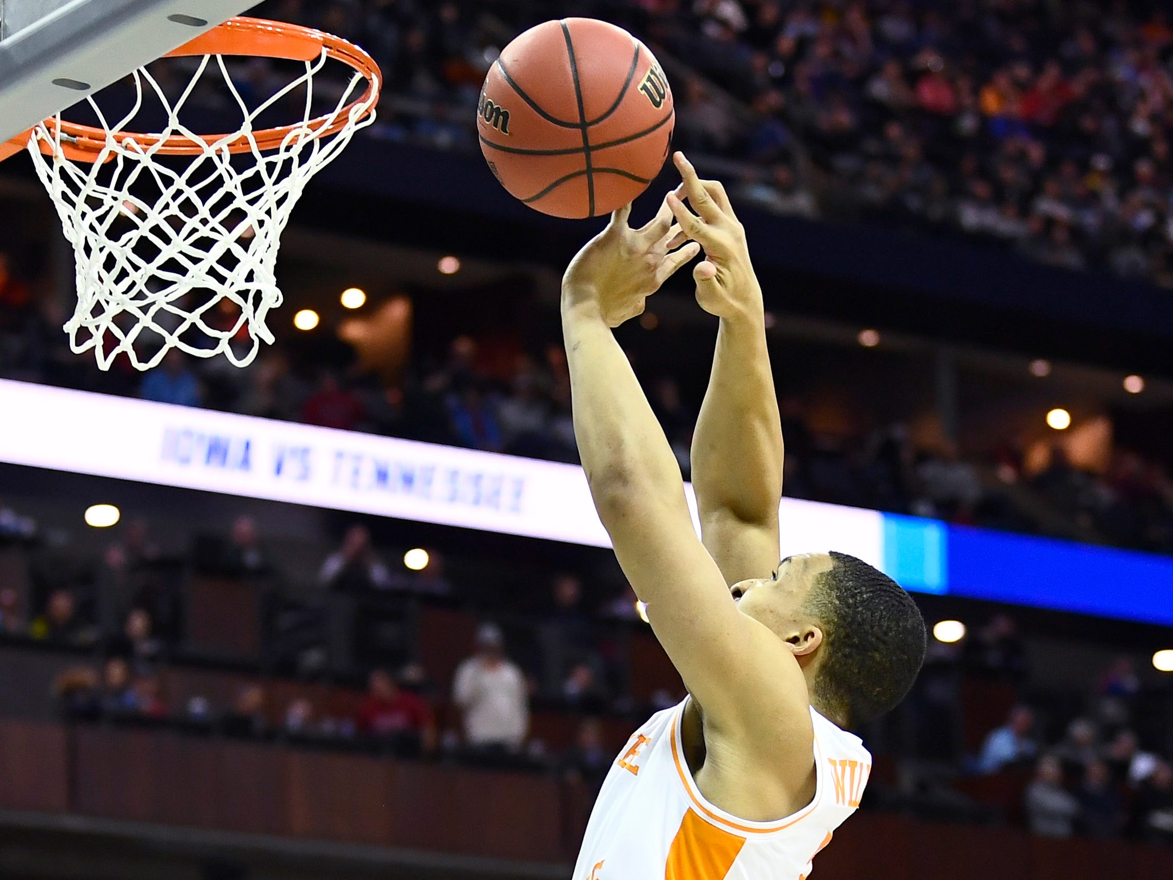 Tennessee forward Grant Williams (2) goes in for a shot during the second half of the game against the Iowa Hawkeyes in the second round of the NCAA Tournament at Nationwide Arena in Columbus, Ohio, Sunday, March 24, 2019.