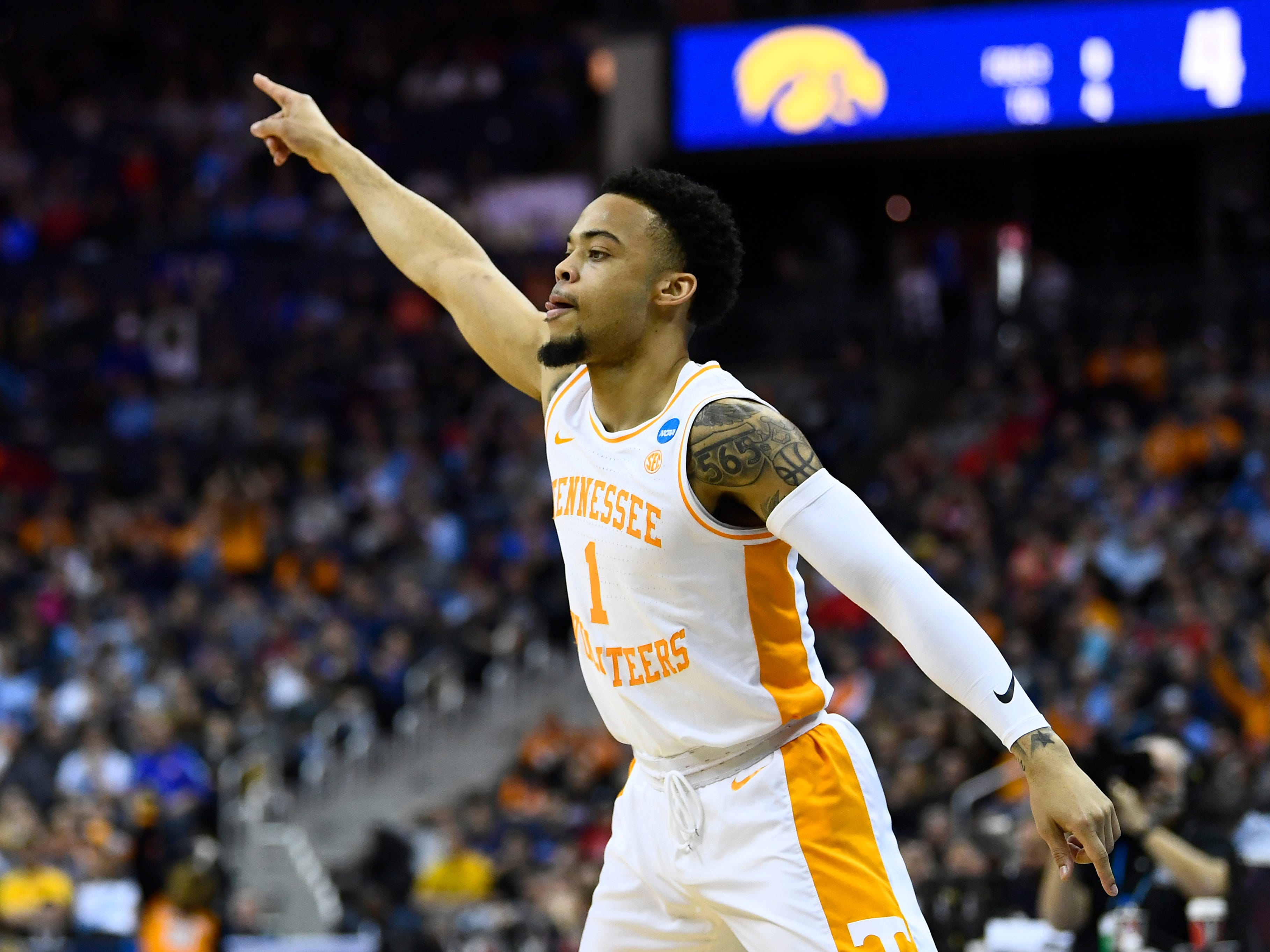 Tennessee guard Lamonte Turner (1) celebrates his three-pointer during the first half of the game against the Iowa Hawkeyes in the second round of the NCAA Tournament at Nationwide Arena in Columbus, Ohio, Sunday, March 24, 2019.