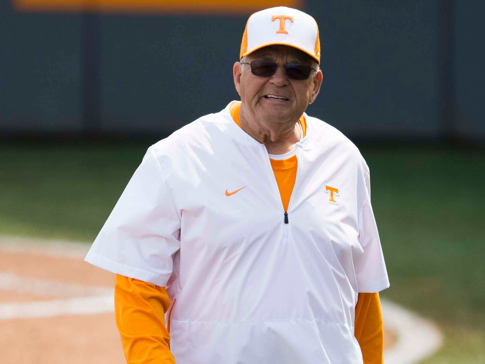 Tennessee co-head coach Ralph Weekly walks off the field after a Lady Vols softball game against Arkansas at Sherri Parker Lee stadium on University of Tennessee's campus in Knoxville Sunday, March 24, 2019. The Lady Vols defeated Arkansas.
