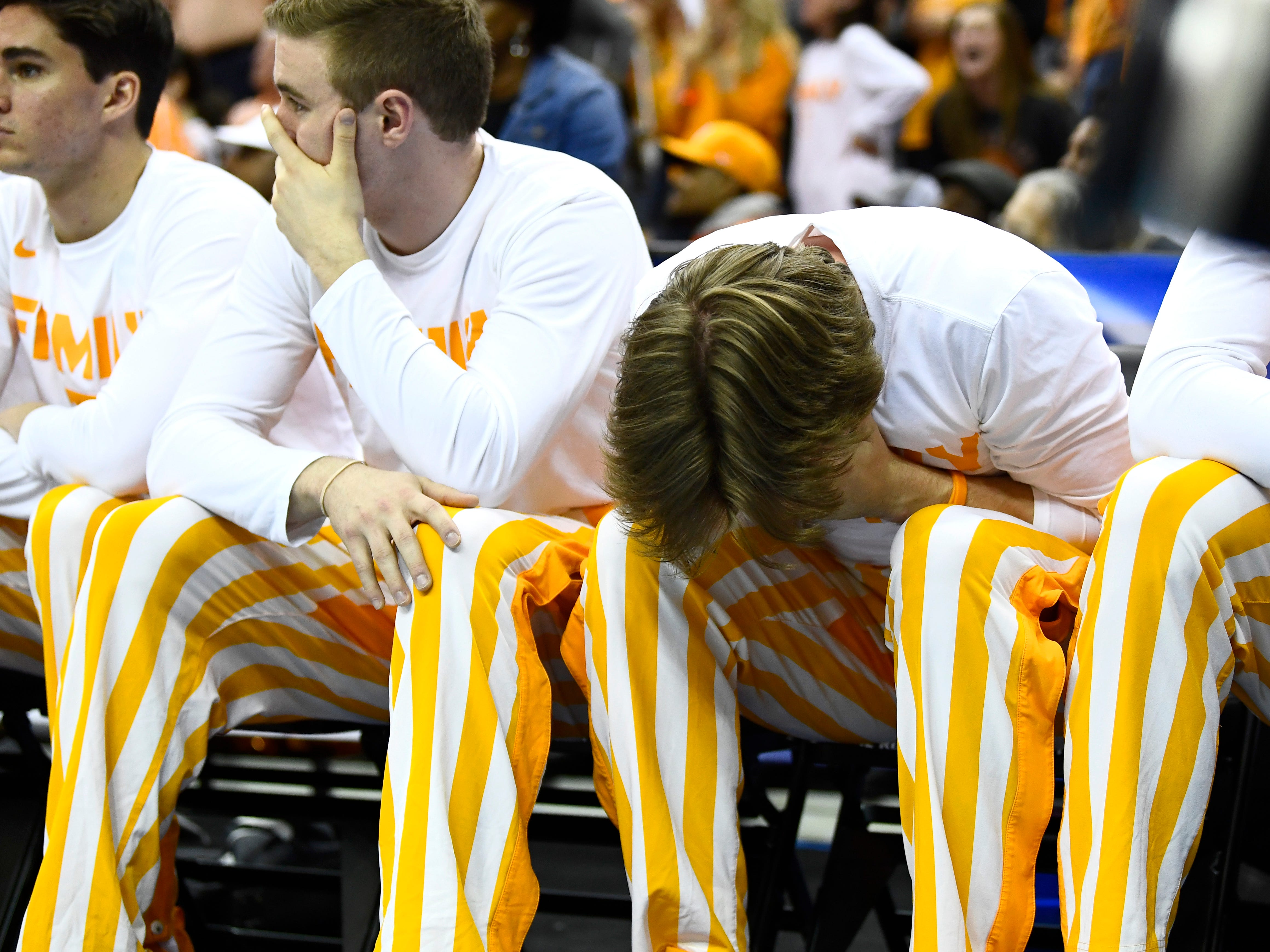 Tennessee guard Lucas Campbell (24) hangs his head during Iowa's run in the second half of the second-round game of the NCAA Tournament at Nationwide Arena in Columbus, Ohio, Sunday, March 24, 2019.
