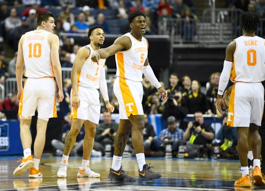 Tennessee guard Admiral Schofield (5) reacts to a referee's call during the second half of the game against the Iowa Hawkeyes in the second round of the NCAA Tournament at Nationwide Arena in Columbus, Ohio, Sunday, March 24, 2019.