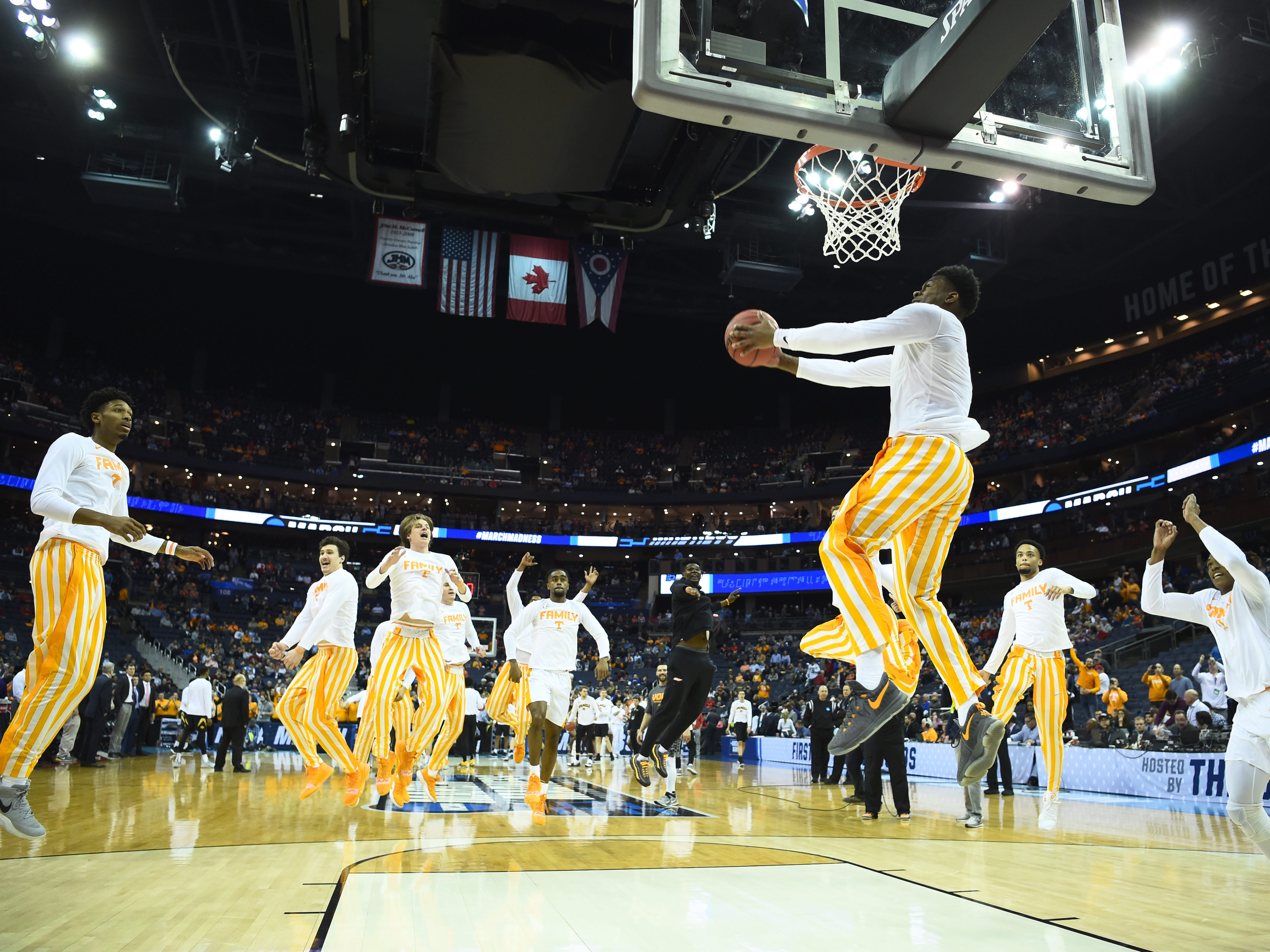"Tennessee guard Admiral Schofield (5) dunks during ""One Fly, We All Fly,"" before the game against the Iowa Hawkeyes in the second round of the NCAA Tournament at Nationwide Arena in Columbus, Ohio, Sunday, March 24, 2019."