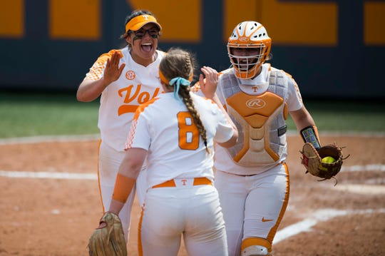 Tennessee pitcher Matty Moss (1) celebrates with teammates after winning a Lady Vols softball game against Arkansas at Sherri Parker Lee stadium on University of Tennessee's campus in Knoxville Sunday, March 24, 2019. The Lady Vols defeated Arkansas.
