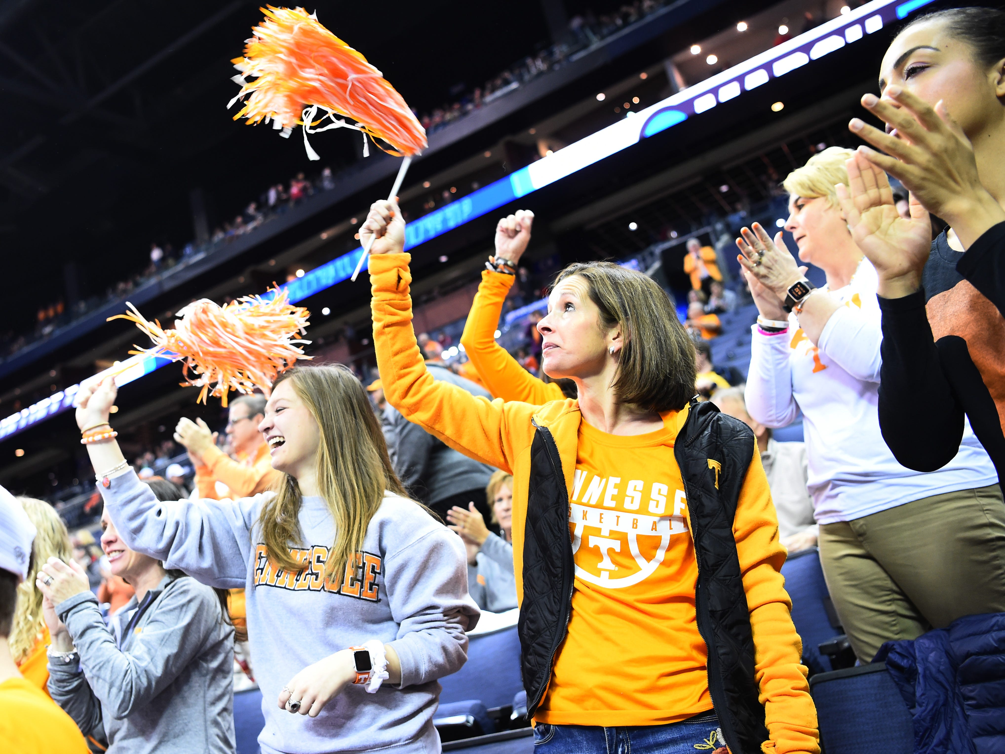"Tennessee fans sing along to ""Rocky Top"" before the game against the Iowa Hawkeyes in the second round of the NCAA Tournament at Nationwide Arena in Columbus, Ohio, Sunday, March 24, 2019."
