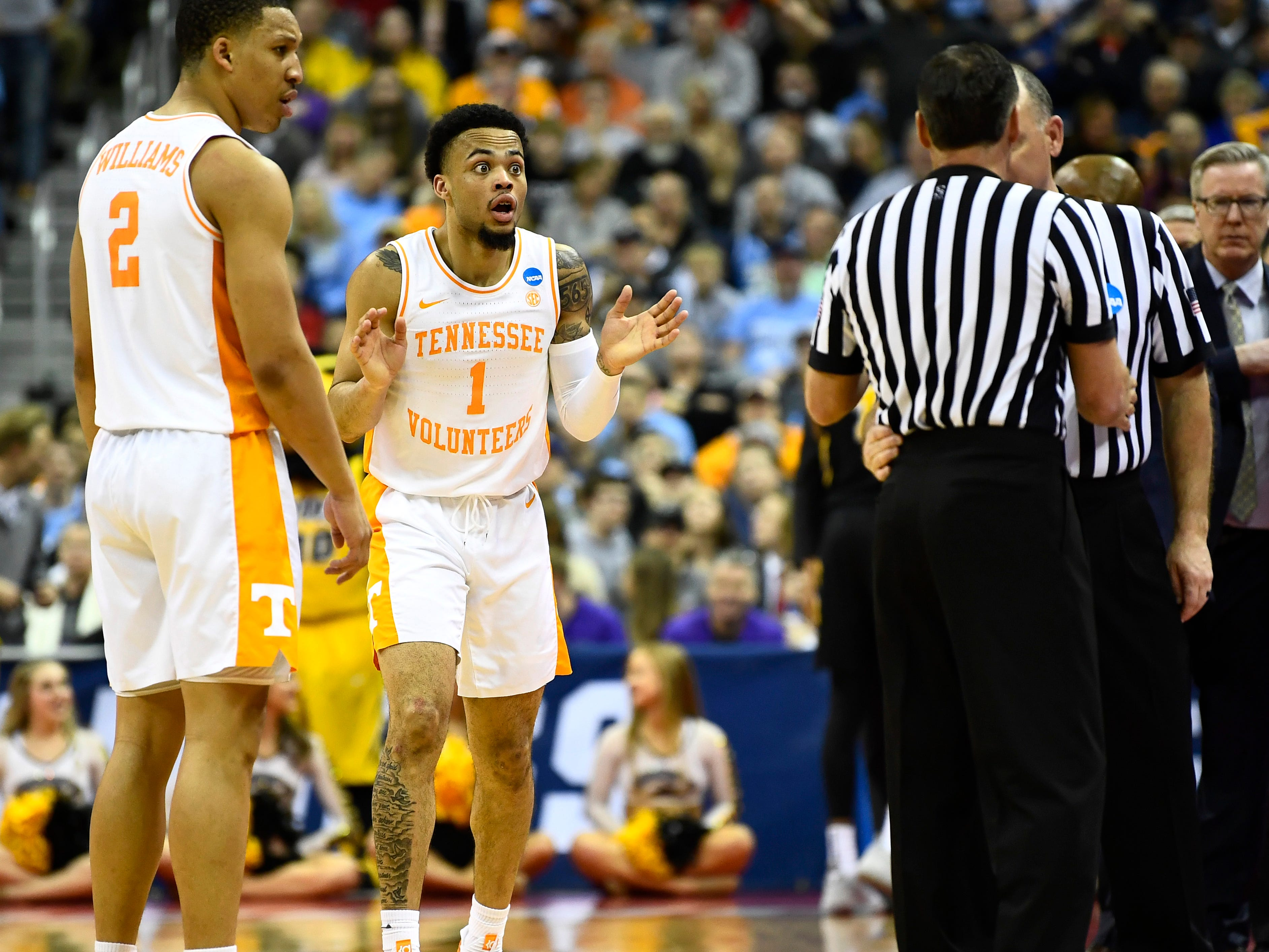 Tennessee guard Lamonte Turner (1) reacts to a foul call against him during the overtime win over the Iowa Hawkeyes in the second round of the NCAA Tournament at Nationwide Arena in Columbus, Ohio, Sunday, March 24, 2019.