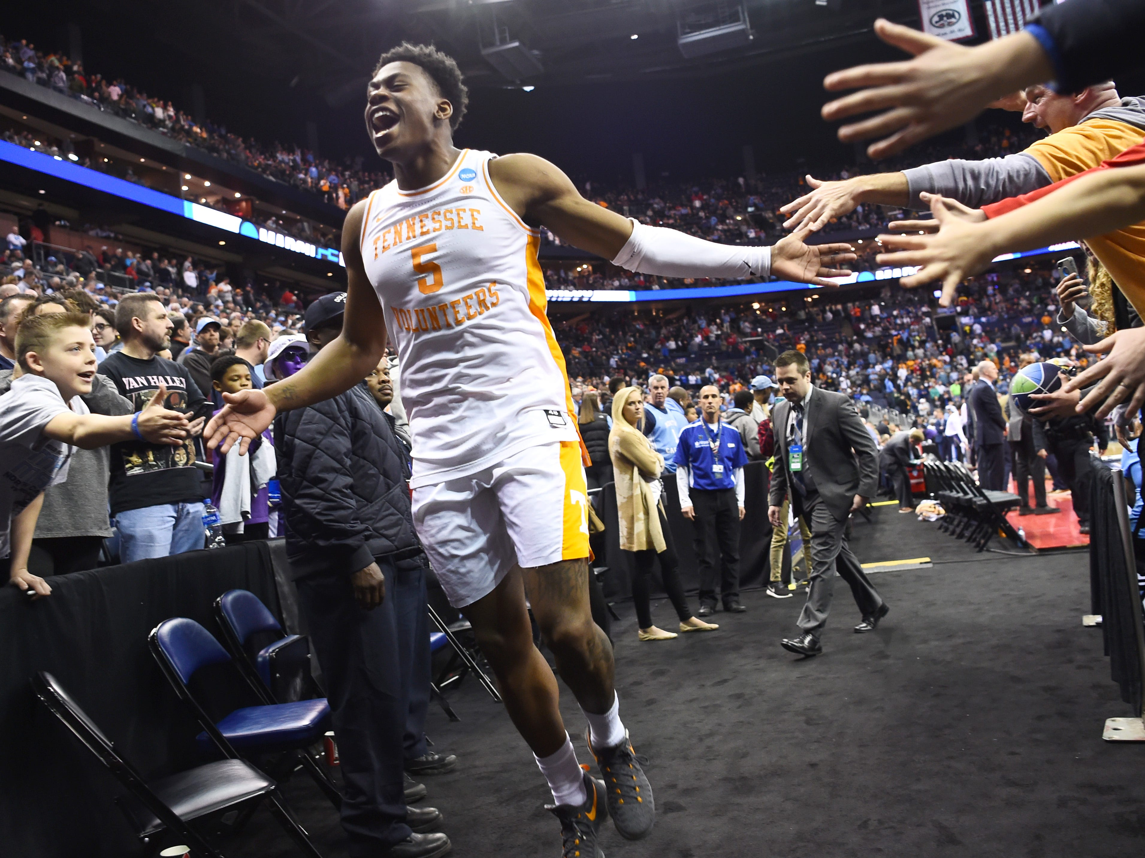 No. 2 UT plays No. 3 Purdue on Thursday, March 28; Here, Tennessee guard Admiral Schofield (5) celebrates the overtime win over the Iowa Hawkeyes in the second round of the NCAA Tournament at Nationwide Arena in Columbus, Ohio, Sunday, March 24, 2019.