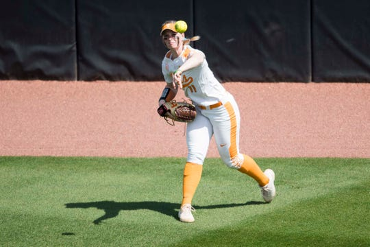 Tennessee outfielder Haley Bearden (11) throws the ball in during a Lady Vols softball game against Arkansas at Sherri Parker Lee stadium on University of Tennessee's campus in Knoxville Sunday, March 24, 2019. The Lady Vols defeated Arkansas.