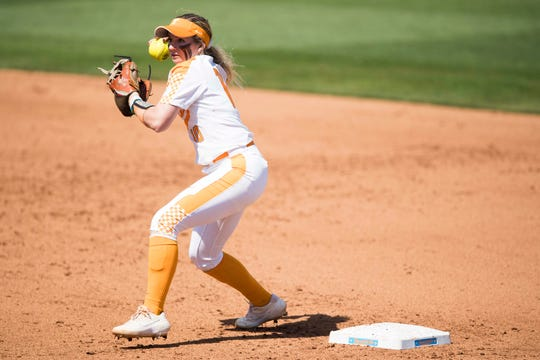 Tennessee infielder Aubrey Leach (10) throws to first during a Lady Vols softball game against Arkansas at Sherri Parker Lee stadium on University of Tennessee's campus in Knoxville Sunday, March 24, 2019. The Lady Vols defeated Arkansas.