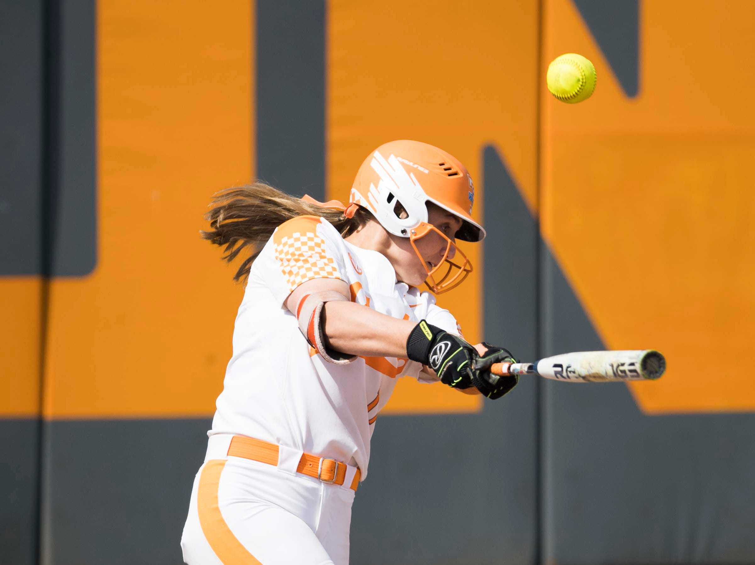 Tennessee outfielder Haley Bearden (11) hits a foul ball during a Lady Vols softball game against Arkansas at Sherri Parker Lee stadium on University of Tennessee's campus in Knoxville Sunday, March 24, 2019. The Lady Vols defeated Arkansas.