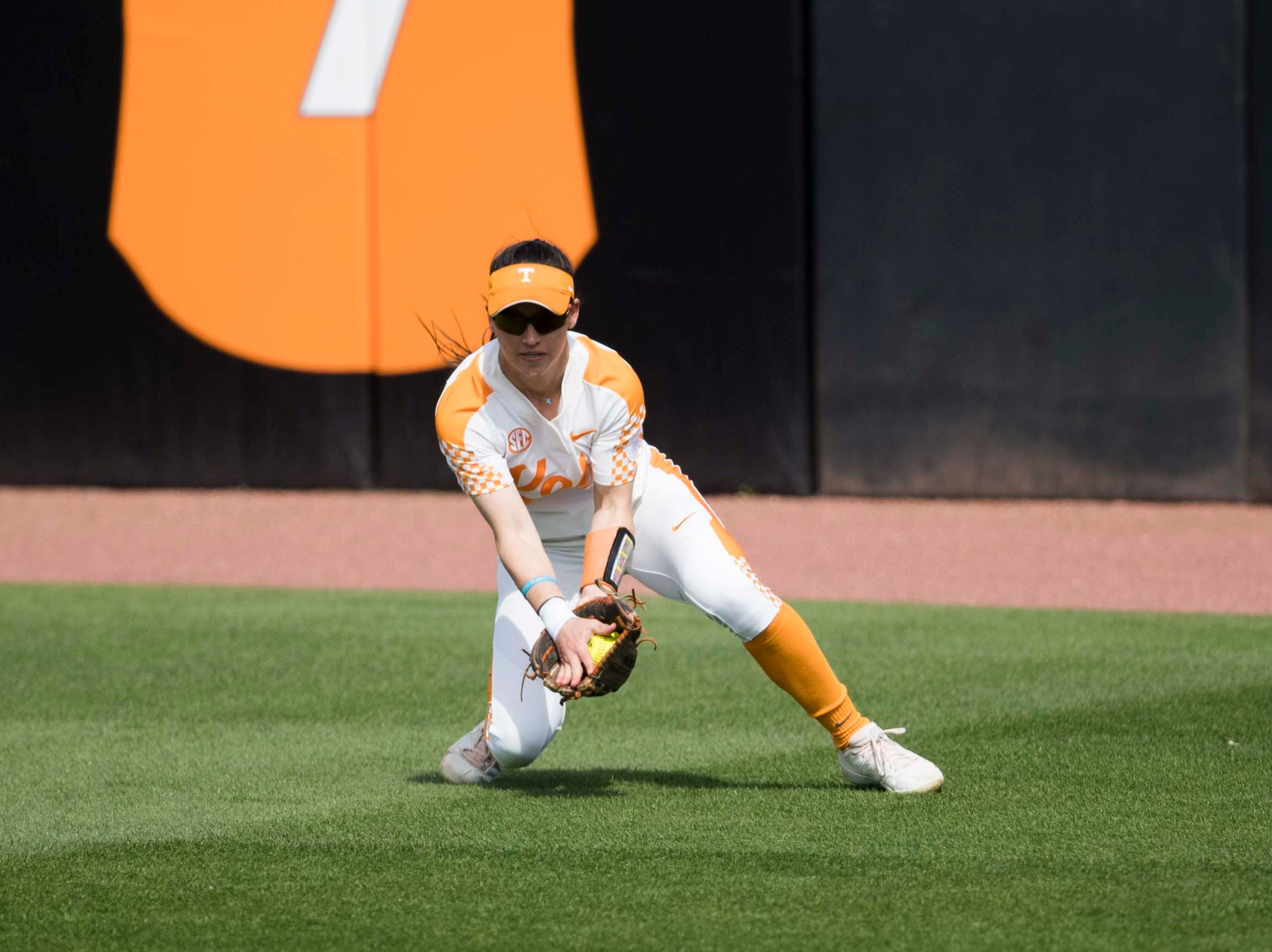 Tennessee outfielder Jenna Holcomb (2) fields a ground ball during a Lady Vols softball game against Arkansas at Sherri Parker Lee stadium on University of Tennessee's campus in Knoxville Sunday, March 24, 2019. The Lady Vols defeated Arkansas.