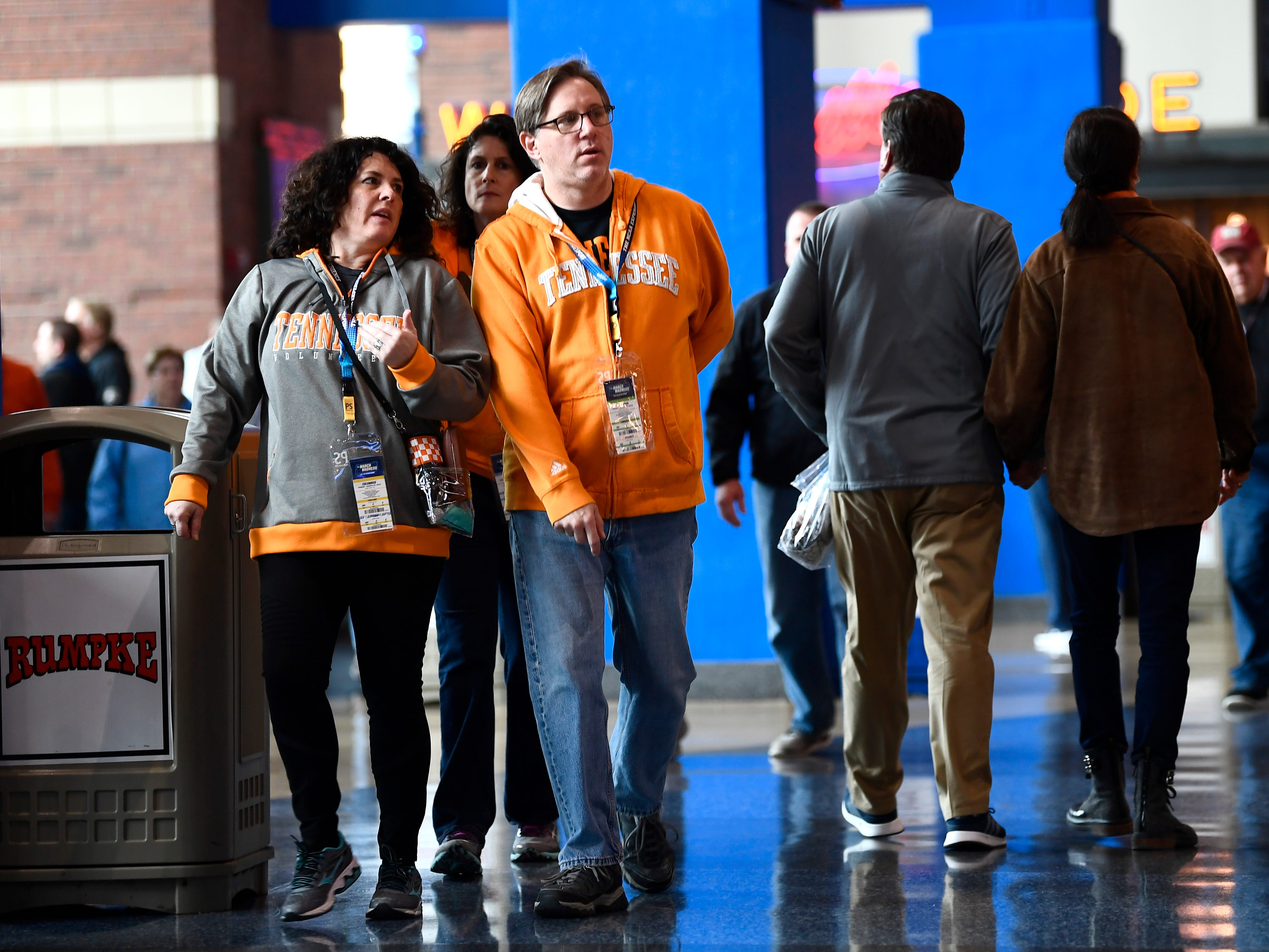 Fans walk the concourse before the start of the Tennessee VolunteersÕ game against the Iowa Hawkeyes in the second round of the NCAA Tournament at Nationwide Arena in Columbus, Ohio, Sunday, March 24, 2019.