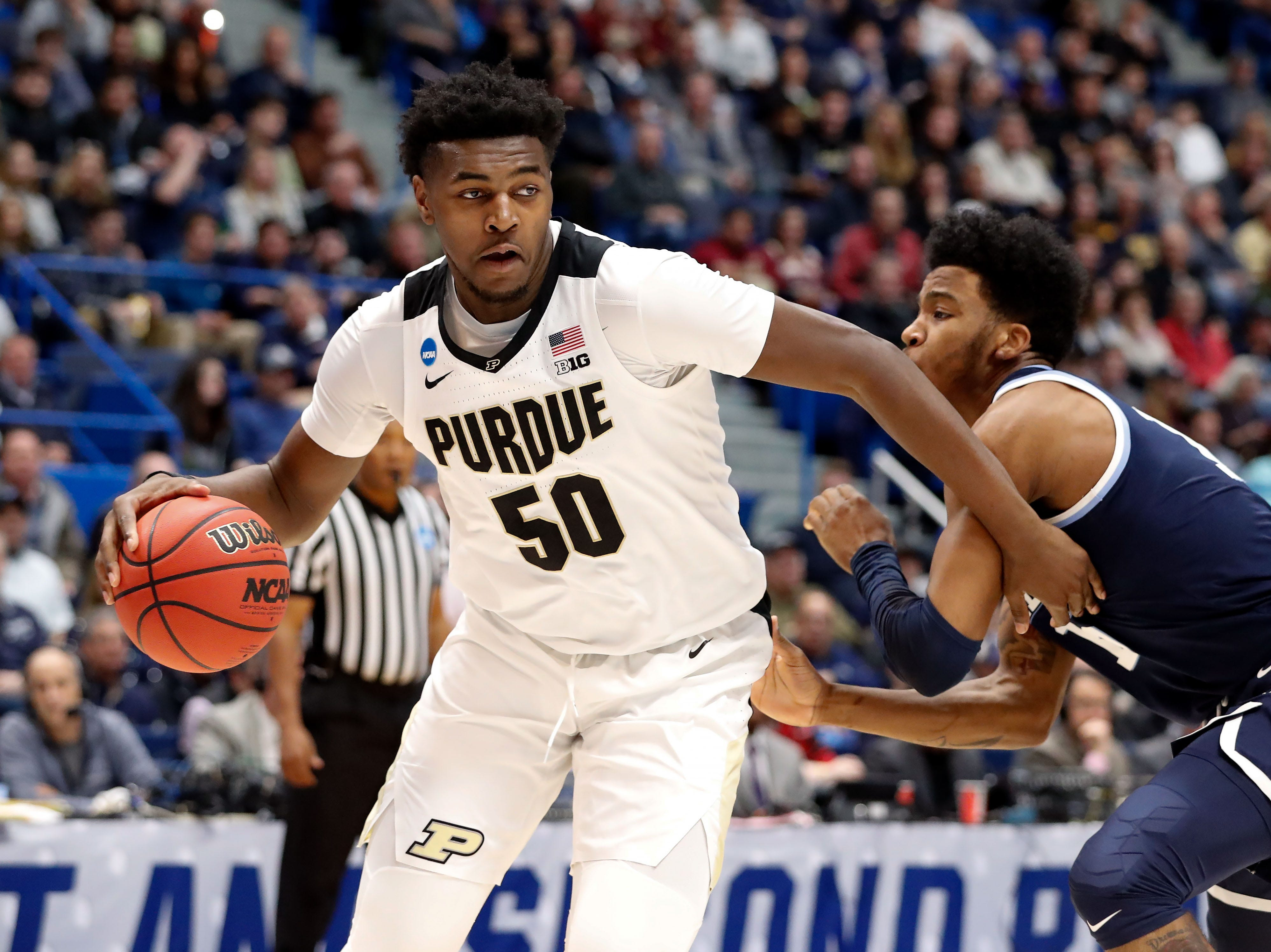 Mar 23, 2019; Hartford, CT, USA; Purdue Boilermakers forward Trevion Williams (50) controls the ball against the Villanova Wildcats during the first half of a game in the second round of the 2019 NCAA Tournament at XL Center. Mandatory Credit: David Butler II-USA TODAY Sports