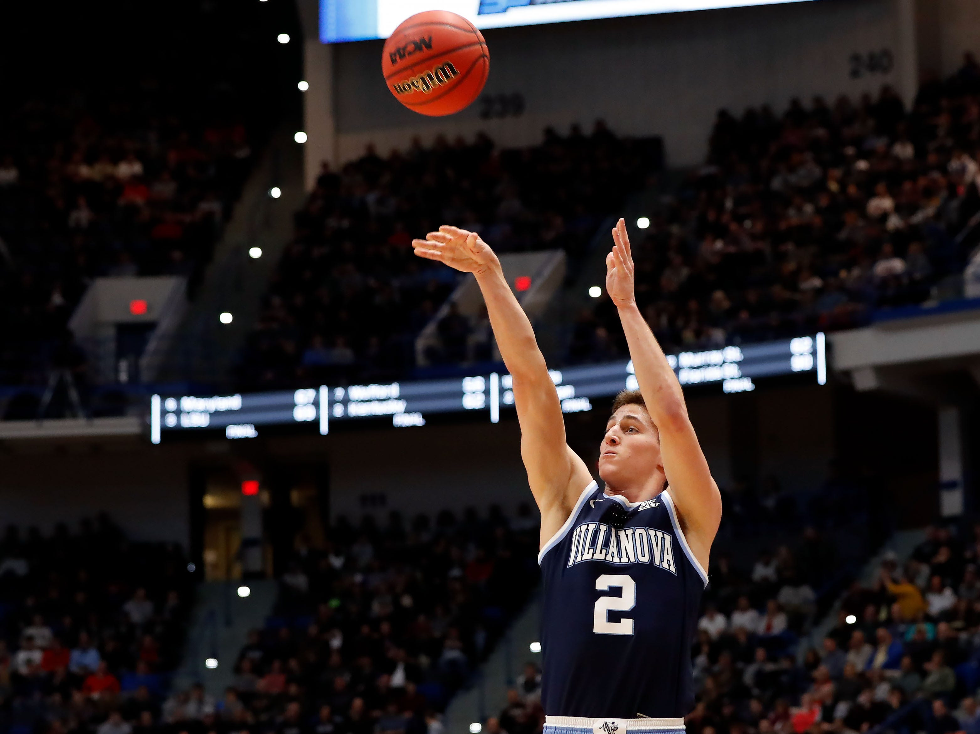 Mar 23, 2019; Hartford, CT, USA; Villanova Wildcats guard Collin Gillespie (2) attempts a three point shot against the Purdue Boilermakers during the second half of a game in the second round of the 2019 NCAA Tournament at XL Center. Mandatory Credit: David Butler II-USA TODAY Sports