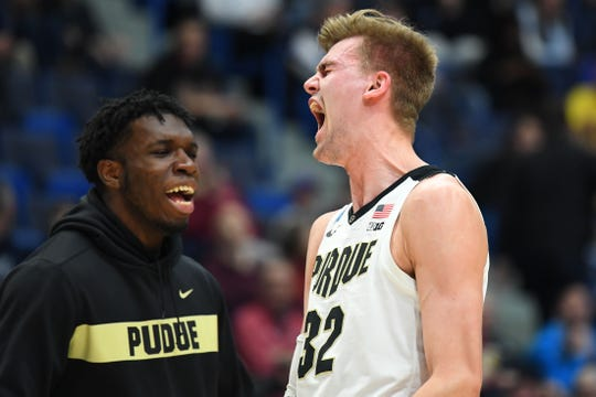 Mar 23, 2019; Hartford, CT, USA; Purdue Boilermakers center Matt Haarms (32) reacts after defeating the against the Villanova Wildcats in the second round of the 2019 NCAA Tournament at XL Center. Mandatory Credit: Robert Deutsch-USA TODAY Sports