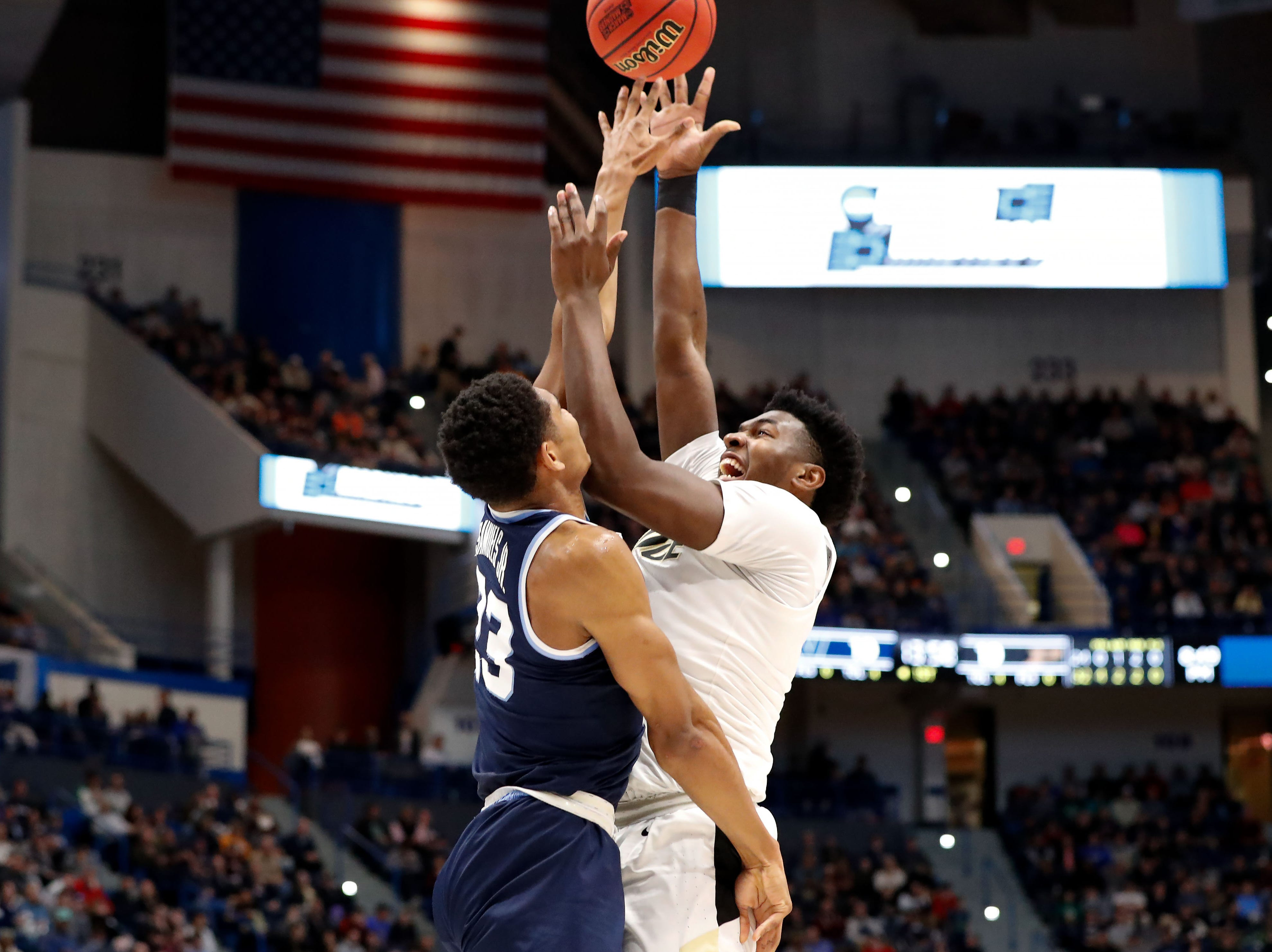 Mar 23, 2019; Hartford, CT, USA; Villanova Wildcats forward Jermaine Samuels (23) blocks a shot from Purdue Boilermakers forward Trevion Williams (50) during the first half of a game in the second round of the 2019 NCAA Tournament at XL Center. Mandatory Credit: David Butler II-USA TODAY Sports
