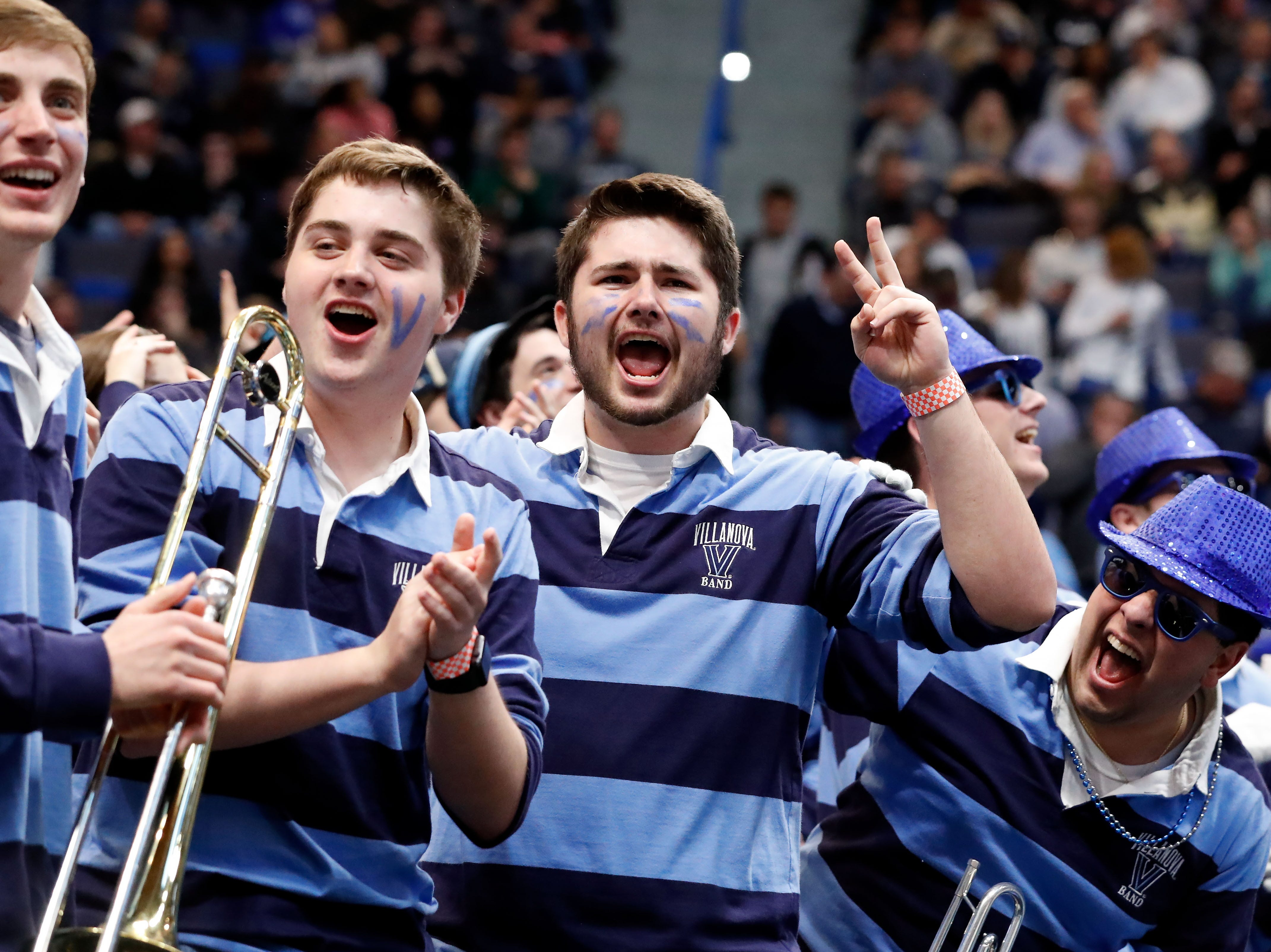Mar 23, 2019; Hartford, CT, USA; The Villanova Wildcats band cheers before a game against the Purdue Boilermakers in the second round of the 2019 NCAA Tournament at XL Center. Mandatory Credit: David Butler II-USA TODAY Sports