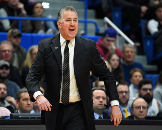 Purdue Boilermakers head coach Matt Painter reacts to a play against the Villanova Wildcats during the first half of game in the second round of the 2019 NCAA Tournament at XL Center.