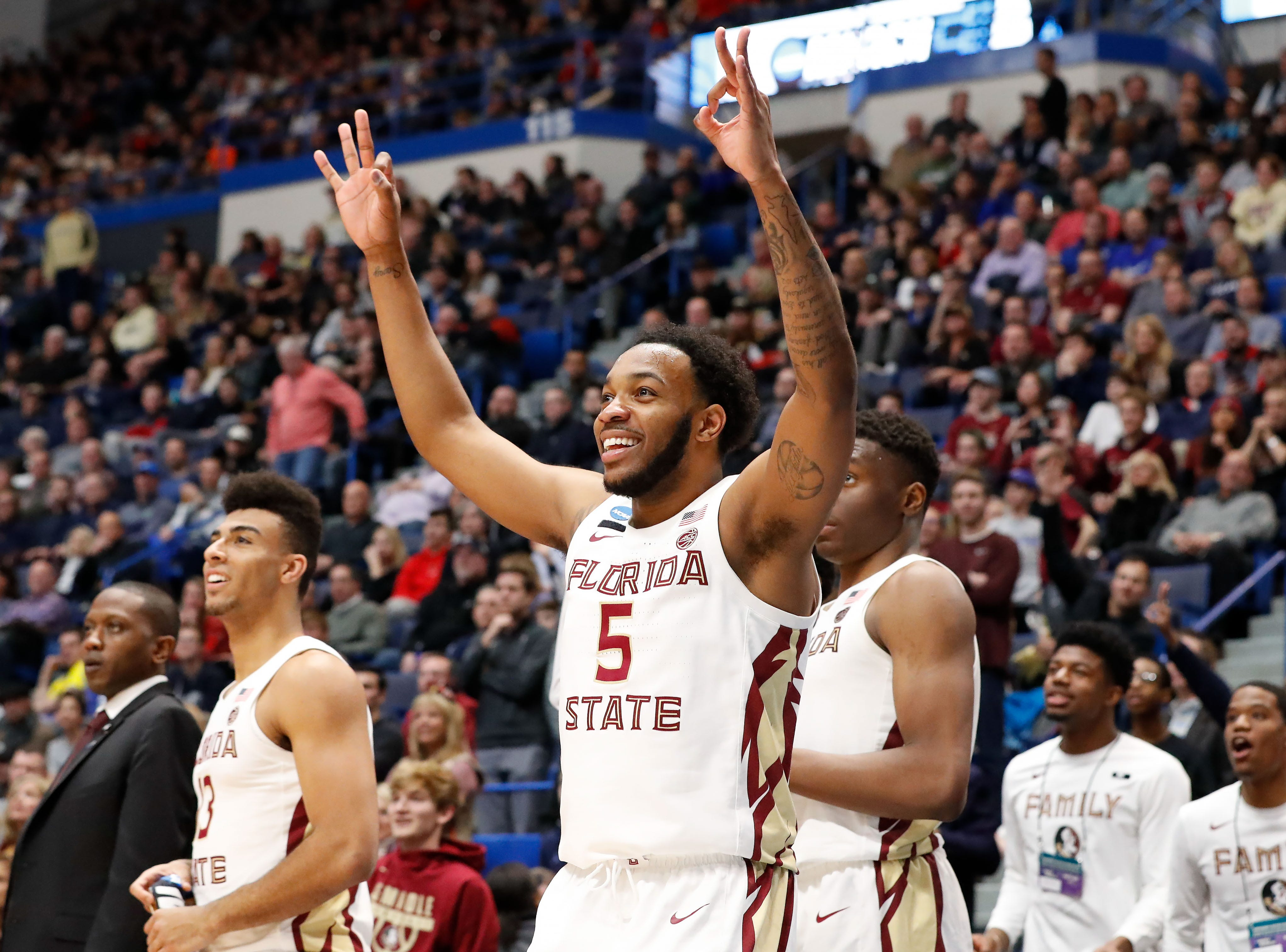 Mar 23, 2019; Hartford, CT, USA; Florida State Seminoles guard PJ Savoy (5) reacts after a score against the Murray State Racers during the second half of a game in the second round of the 2019 NCAA Tournament at XL Center. Mandatory Credit: David Butler II-USA TODAY Sports