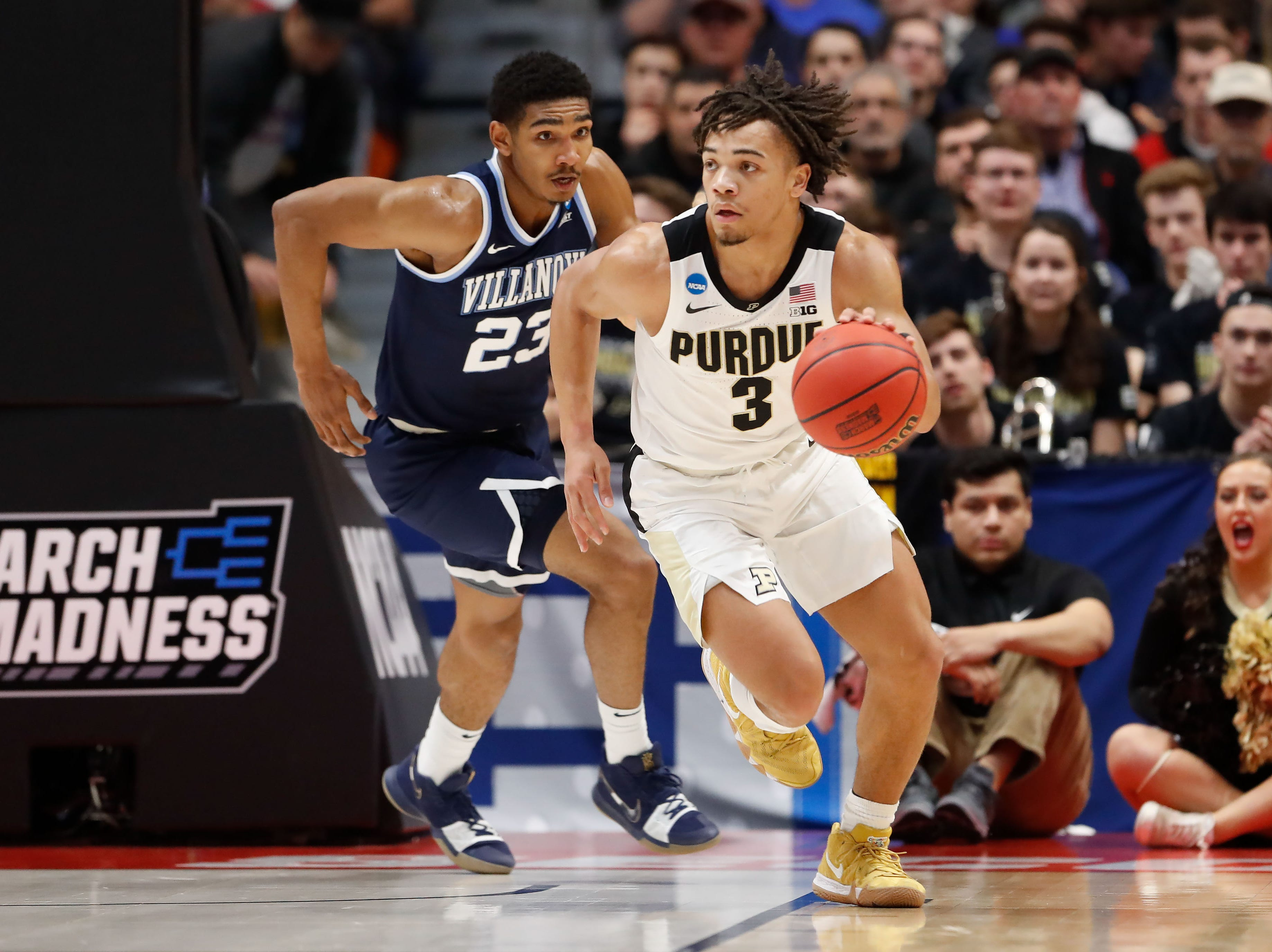 Mar 23, 2019; Hartford, CT, USA; Purdue Boilermakers guard Carsen Edwards (3) dribbles the ball up the court during the first half of a game against the Villanova Wildcats in the second round of the 2019 NCAA Tournament at XL Center. Mandatory Credit: David Butler II-USA TODAY Sports