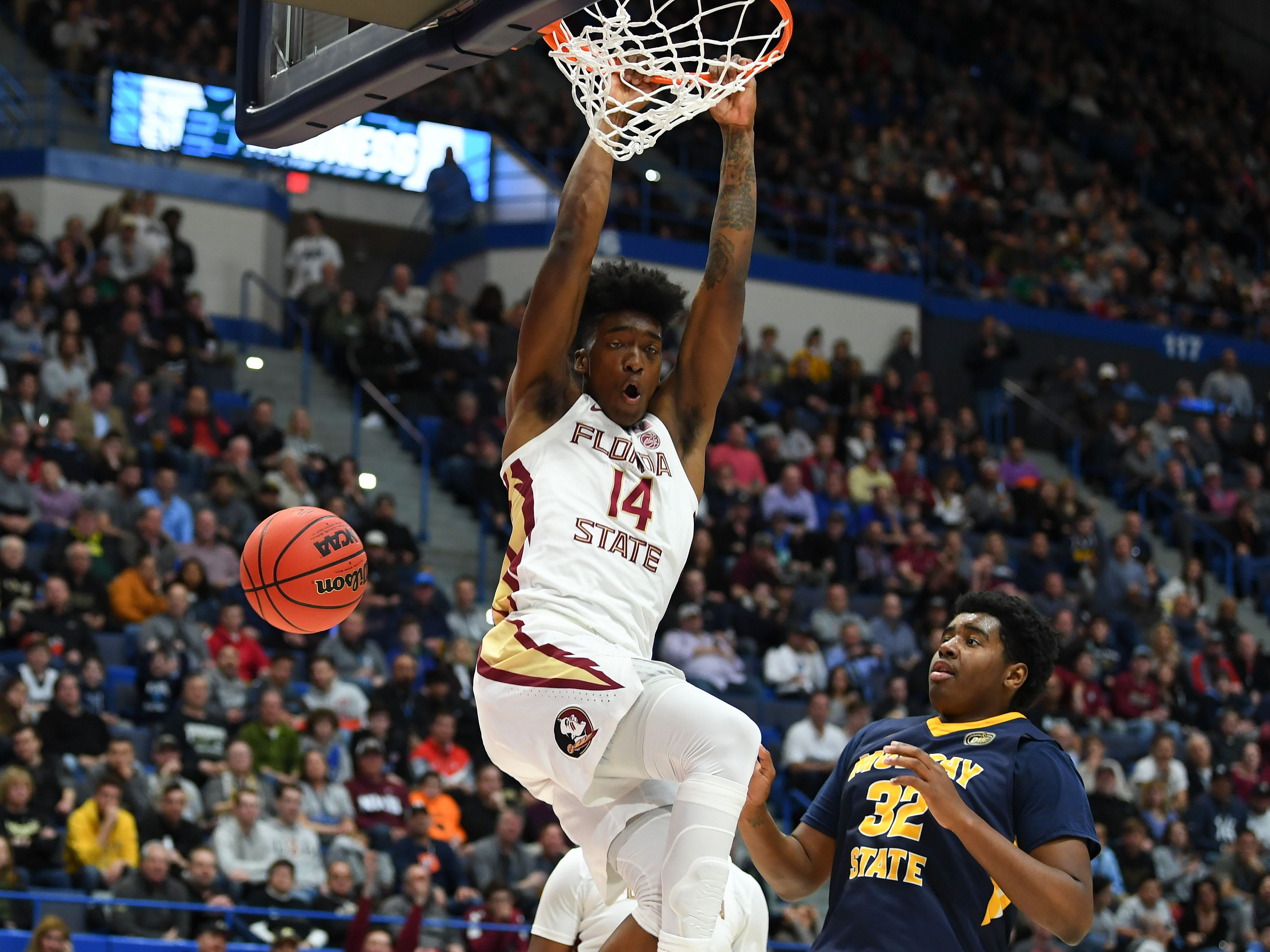 Florida State guard Terance Mann dunks against Murray State during the first half of a game in the second round of the 2019 NCAA Tournament at XL Center.