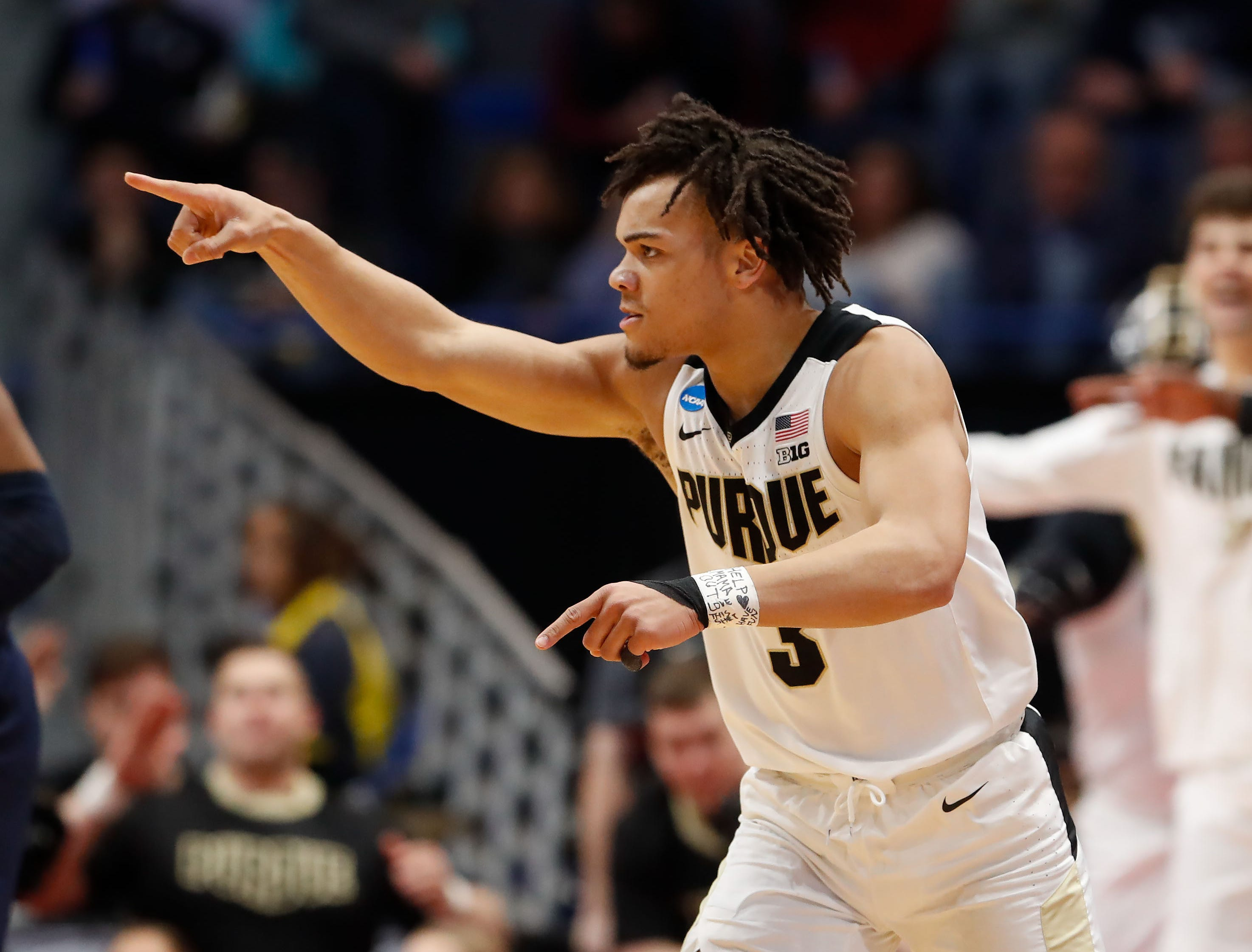 Mar 23, 2019; Hartford, CT, USA; Purdue Boilermakers guard Carsen Edwards (3) reacts after a score against the Villanova Wildcats during the second half of a game in the second round of the 2019 NCAA Tournament at XL Center. Mandatory Credit: David Butler II-USA TODAY Sports