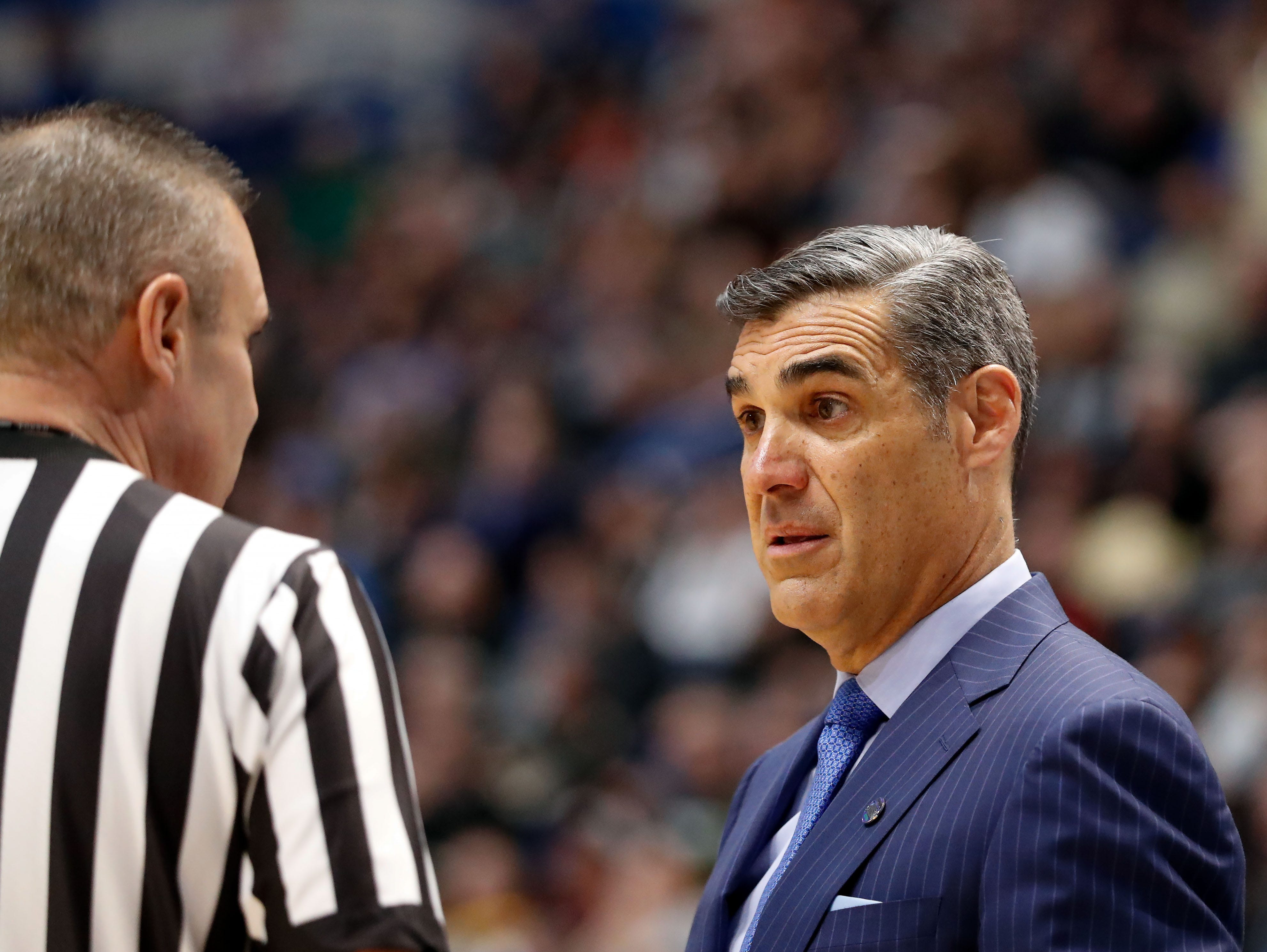 Mar 23, 2019; Hartford, CT, USA; Villanova Wildcats head coach Jay Wright talks with a referee during the first half of a game against the Purdue Boilermakers in the second round of the 2019 NCAA Tournament at XL Center. Mandatory Credit: David Butler II-USA TODAY Sports