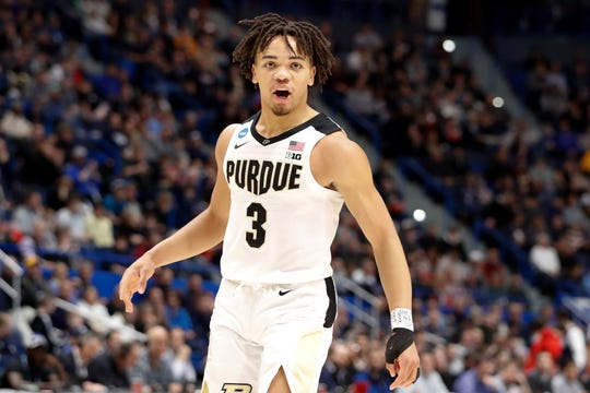 Mar 23, 2019; Hartford, CT, USA; Purdue Boilermakers guard Carsen Edwards (3) reacts after a score against the Villanova Wildcats during the first half of a game in the second round of the 2019 NCAA Tournament at XL Center. Mandatory Credit: David Butler II-USA TODAY Sports