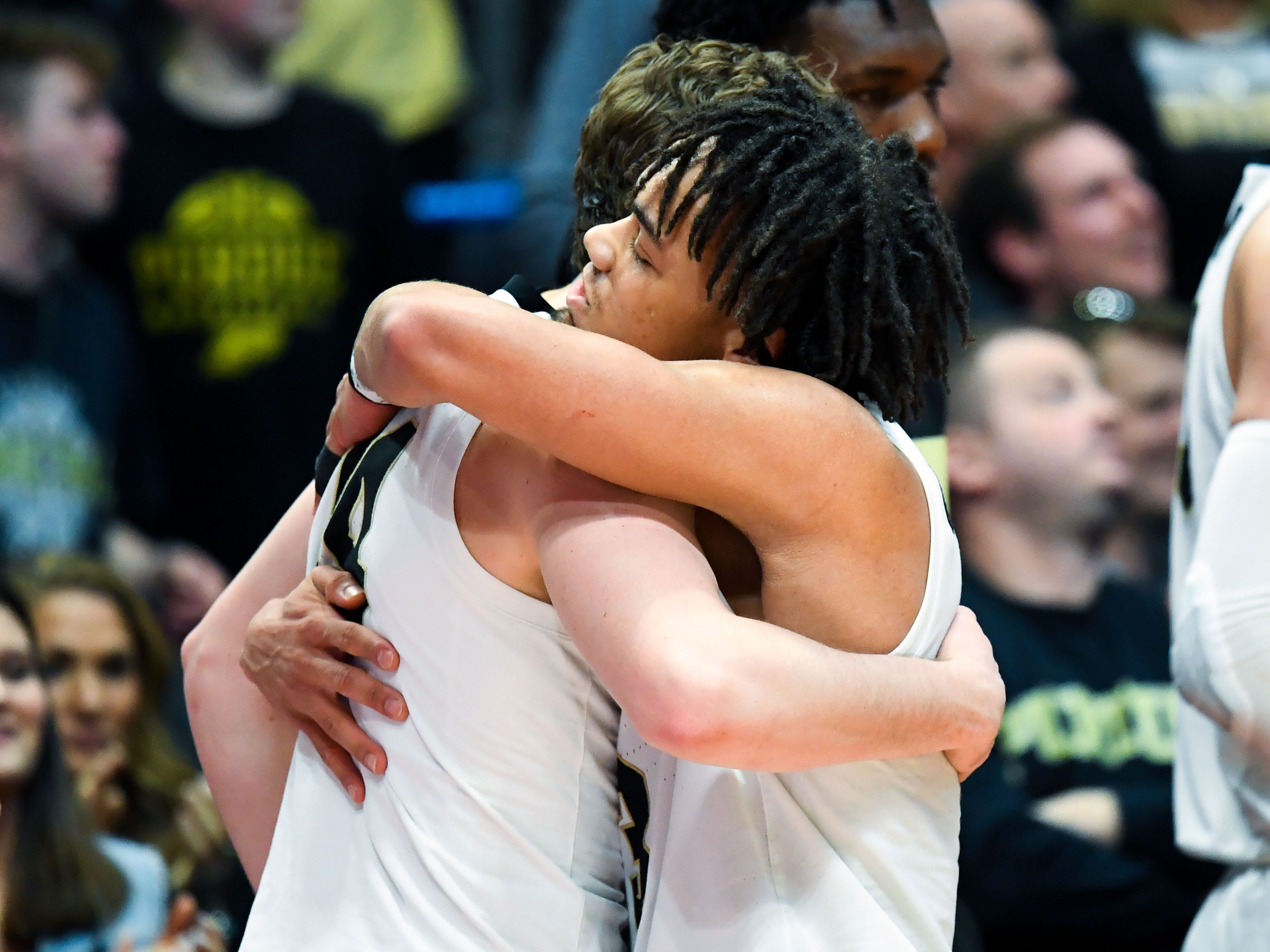 Mar 23, 2019; Hartford, CT, USA; Purdue Boilermakers guard Carsen Edwards (3) hugs guard Ryan Cline (14) after defeating the Villanova Wildcats in the second round of the 2019 NCAA Tournament at XL Center. Mandatory Credit: Robert Deutsch-USA TODAY Sports
