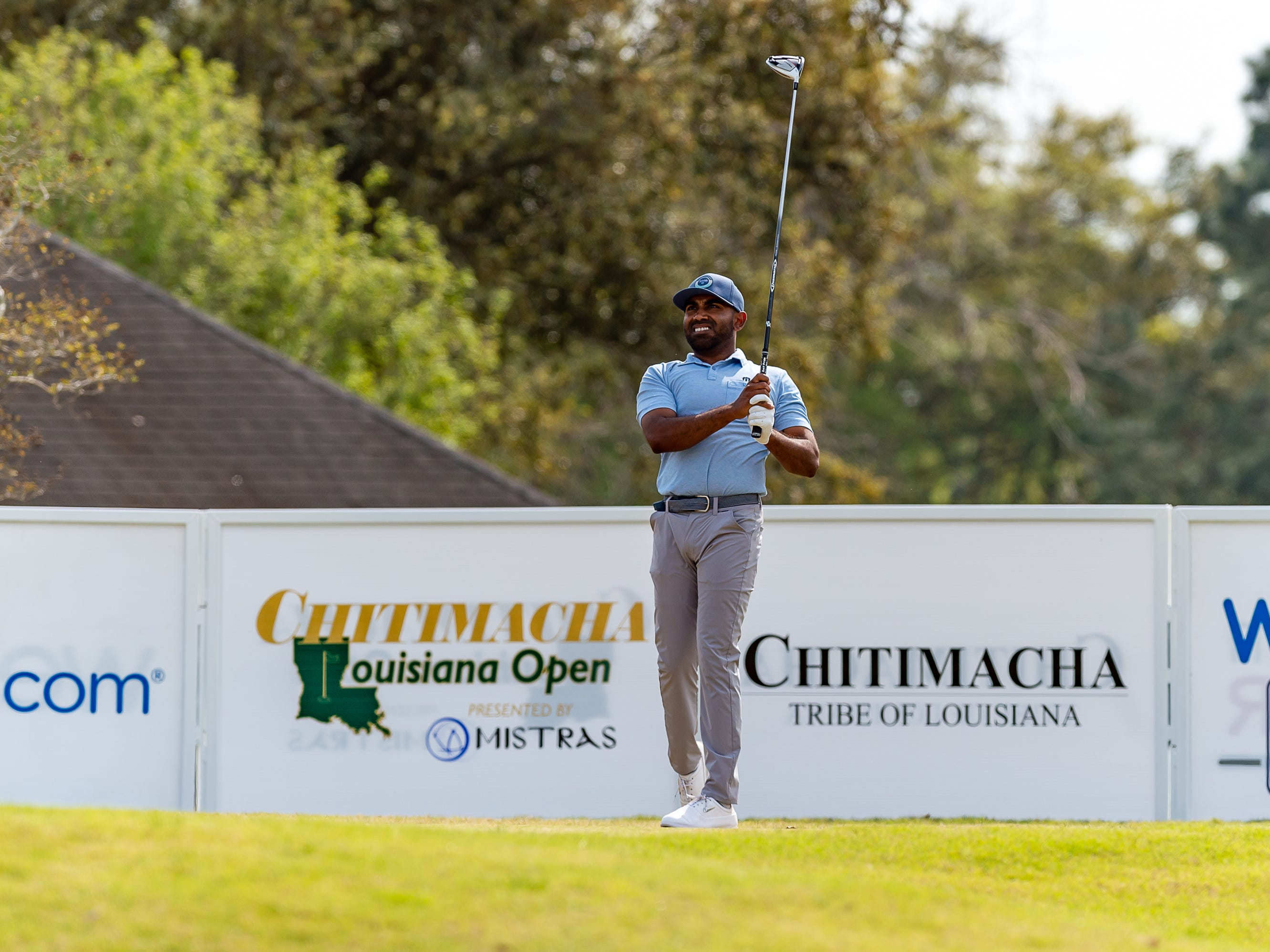 Bhavik Patel on the tee during the third round of The Web.com Tour in Lafayette for the 2019 Chitimacha Louisiana Open at Le Triomphe. Saturday, March 23, 2019.