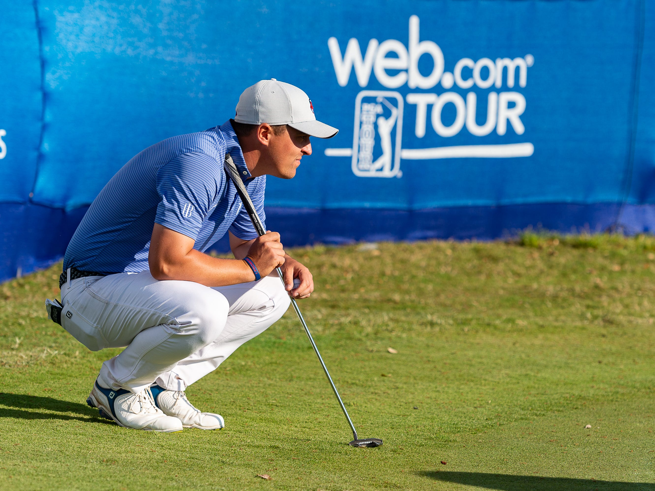 Justin Lower lines up a putt on 18 during the third round of The Web.com Tour in Lafayette for the 2019 Chitimacha Louisiana Open at Le Triomphe. Saturday, March 23, 2019.