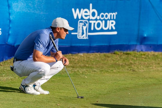 Justin Lower lines up a putt on the 18th hole during the third round of the Web.com Tour 2019 Chitimacha Louisiana Open at Le Triomphe in Lafayette on Saturday.
