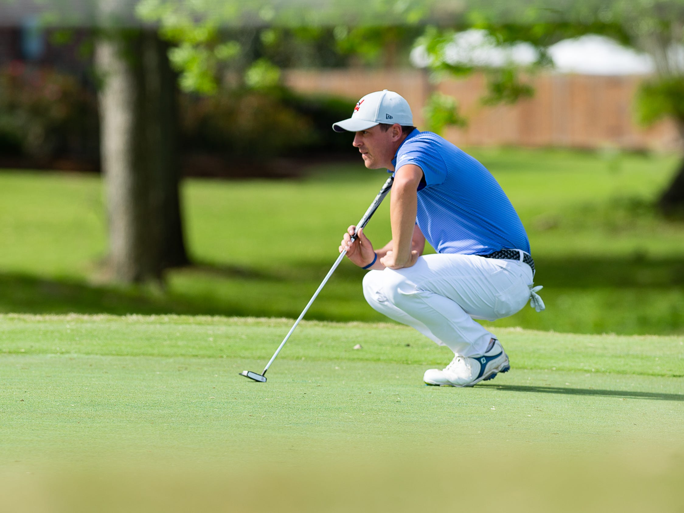 Justin Lower lines up a putt during the third round of The Web.com Tour in Lafayette for the 2019 Chitimacha Louisiana Open at Le Triomphe. Saturday, March 23, 2019.