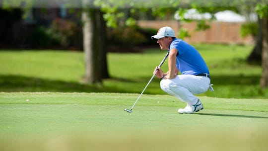 Justin Lower lines up a putt during the third round of the Web.com Tour 2019 Chitimacha Louisiana Open at Le Triomphe in Lafayette on Saturday.