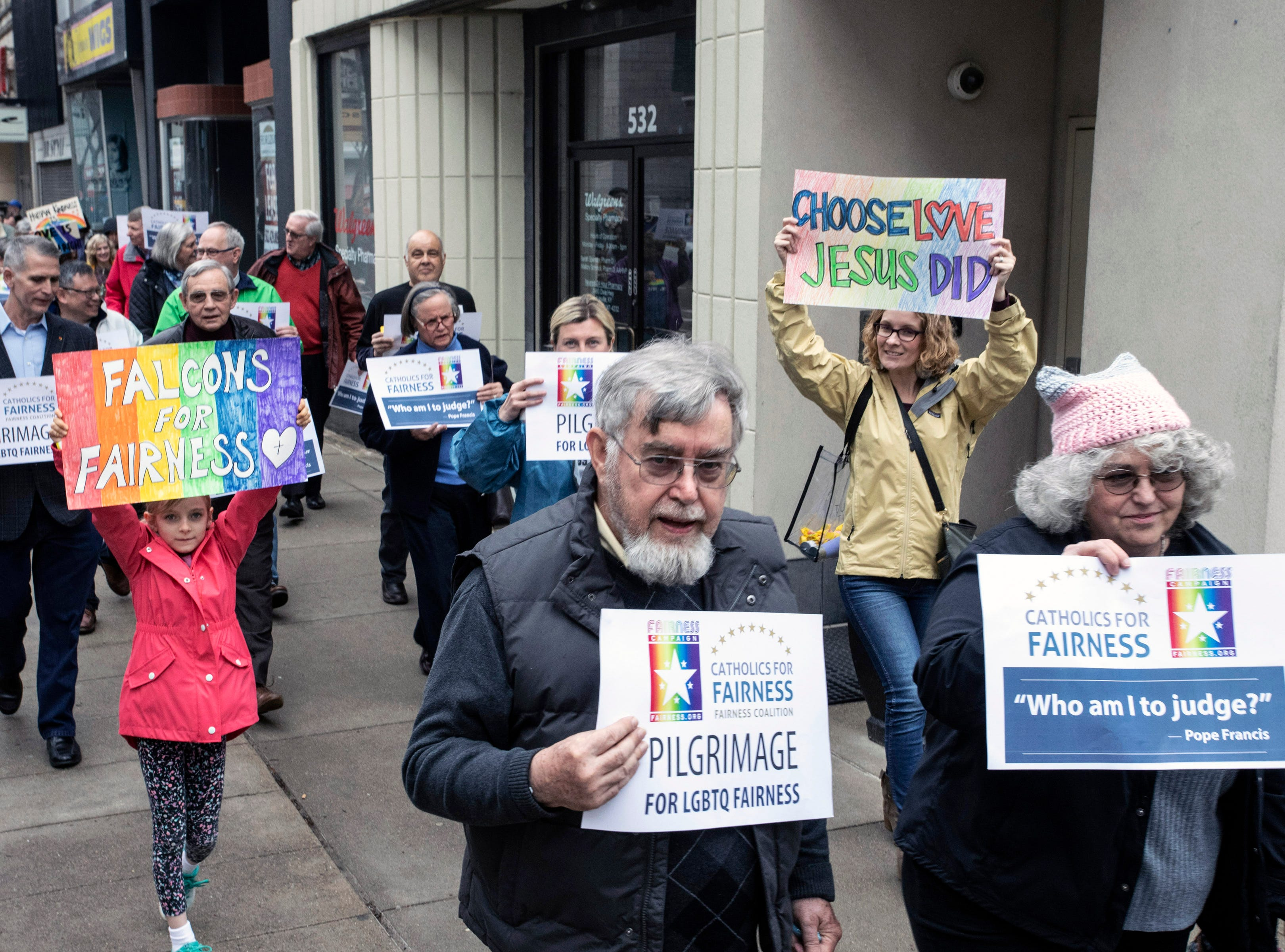 The annual Catholics for Fairness Pilgrimage marched from the Volunteers of America on South Fourth Street to the Cathedral of the Assumption on Fifth Street Sunday afternoon. March 24, 2019