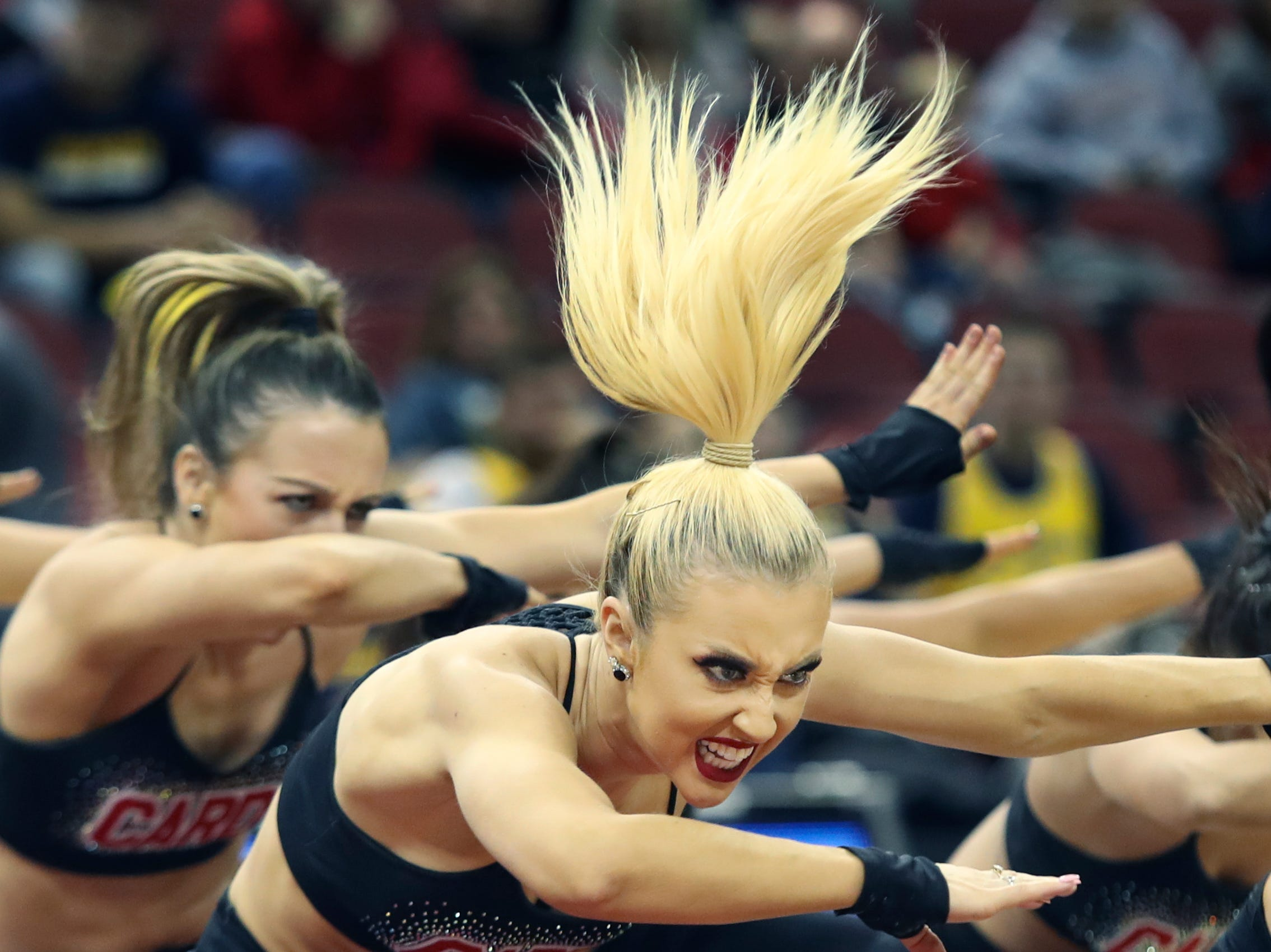 The Louisville Ladybirds entertain the crowd during halftime at the KFC Yum Center on March 24.
